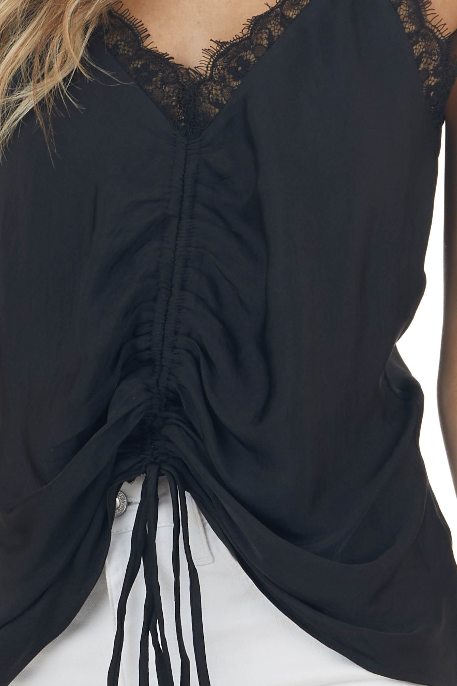 Black Sleeveless Ruched Camisole Blouse with Lace Neckline