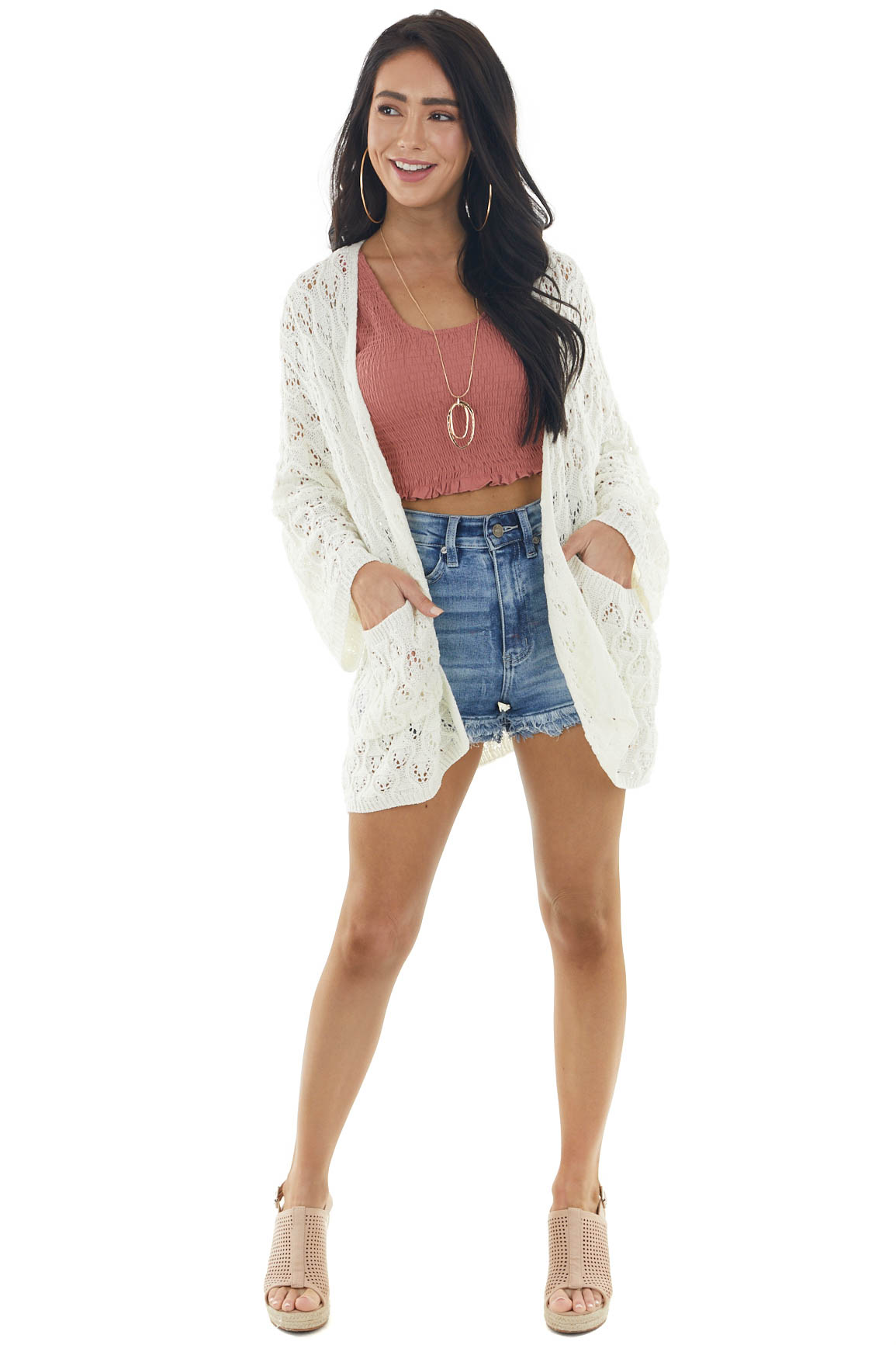 Ivory Open Front Crochet Knit Lace Cardigan with Pockets