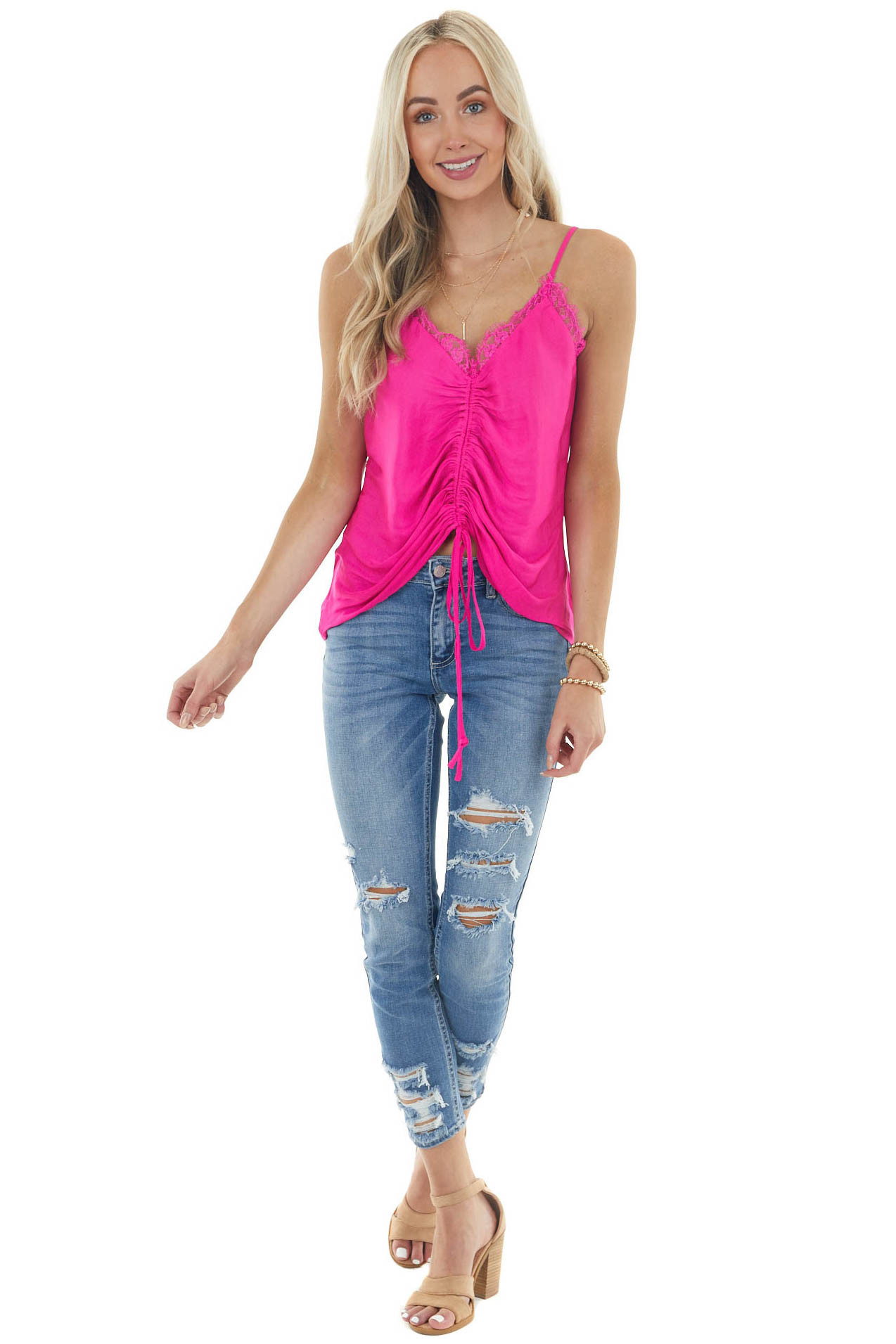 Magenta Sleeveless Ruched Camisole Blouse with Lace Neckline