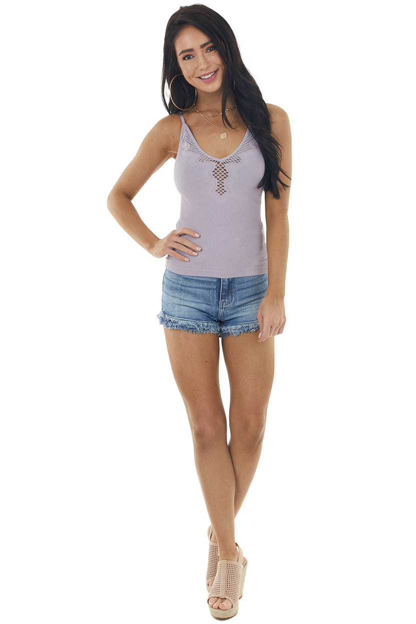 Lilac Fitted Sleeveless Knit Top with Laser Cutout Details