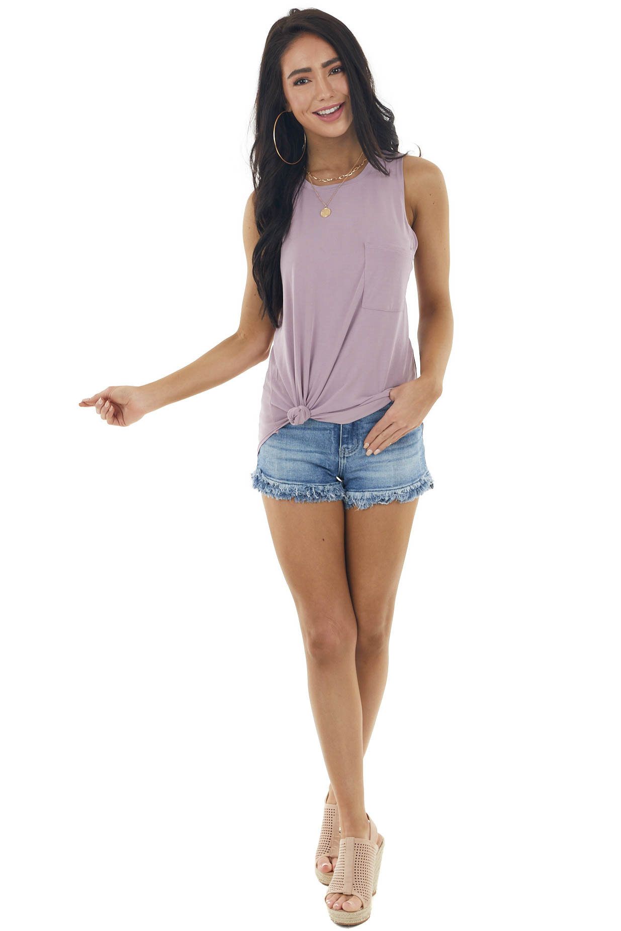 Mauve Lightweight Sleeveless Knit Top with Pocket