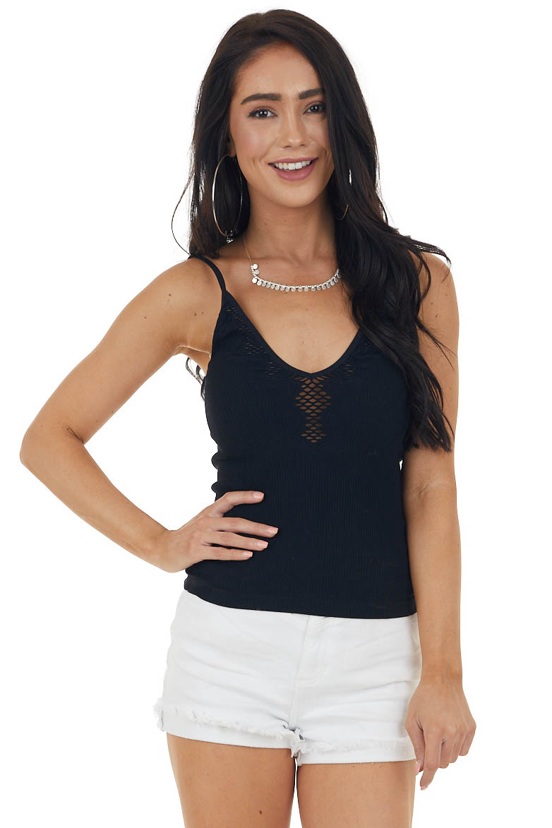 Black Fitted Sleeveless Knit Top with Laser Cutout Details