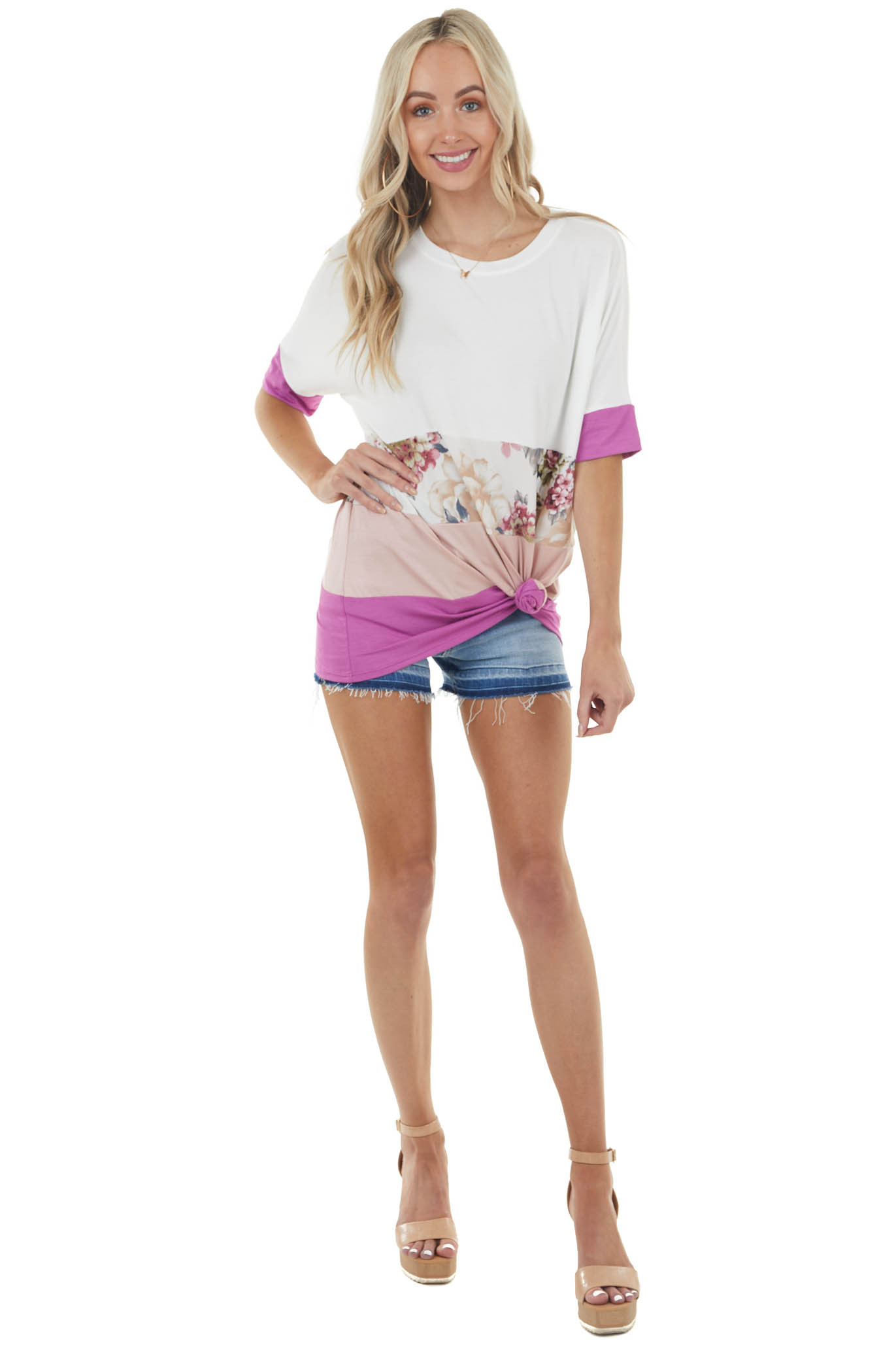 Deep Lilac and Floral Print Colorblock Short Sleeve Knit Tee