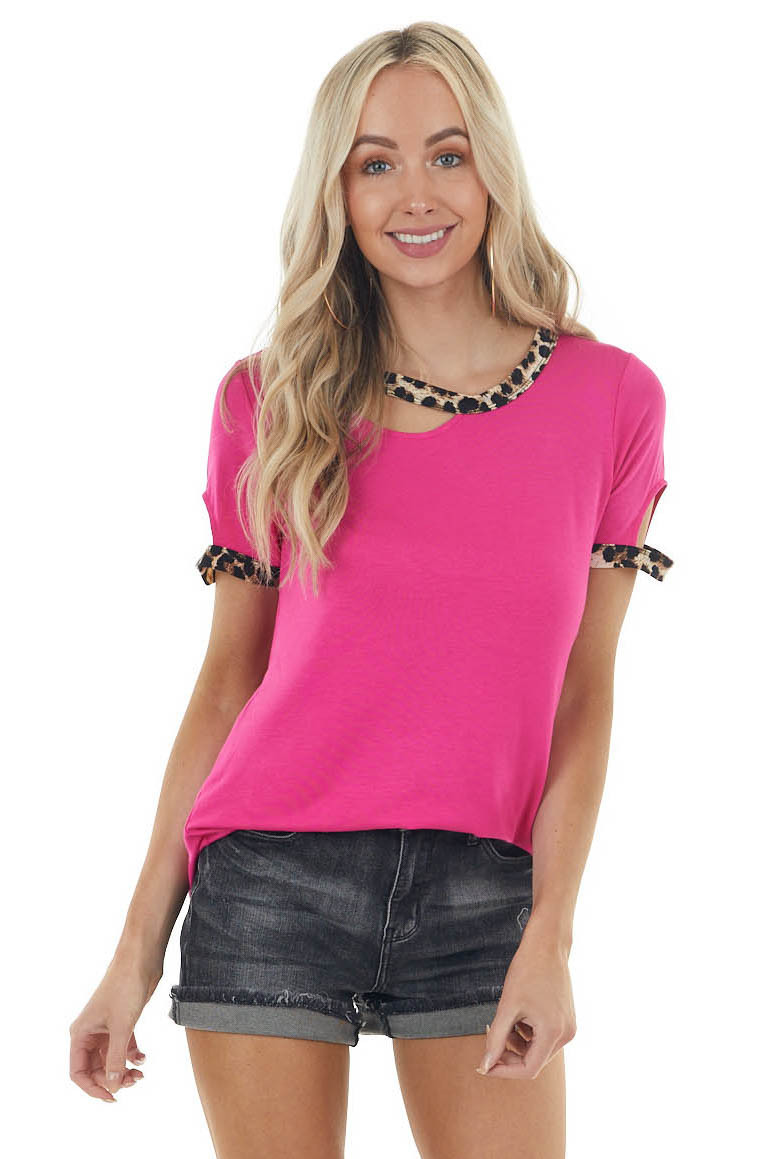 Magenta Cut Out Stretchy Knit Tee with Leopard Print Trim