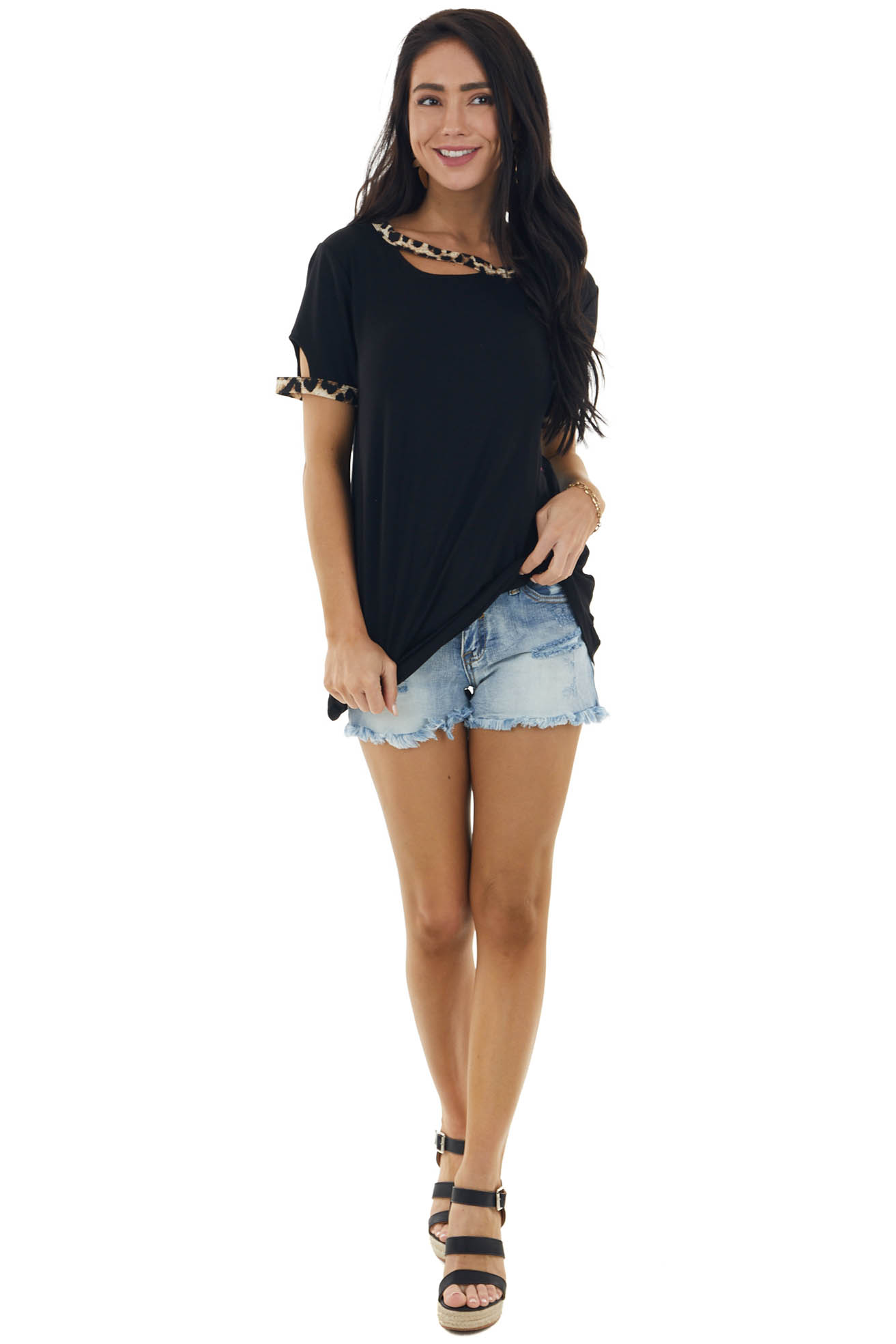 Black Cut Out Stretchy Knit Tee with Leopard Print Trim