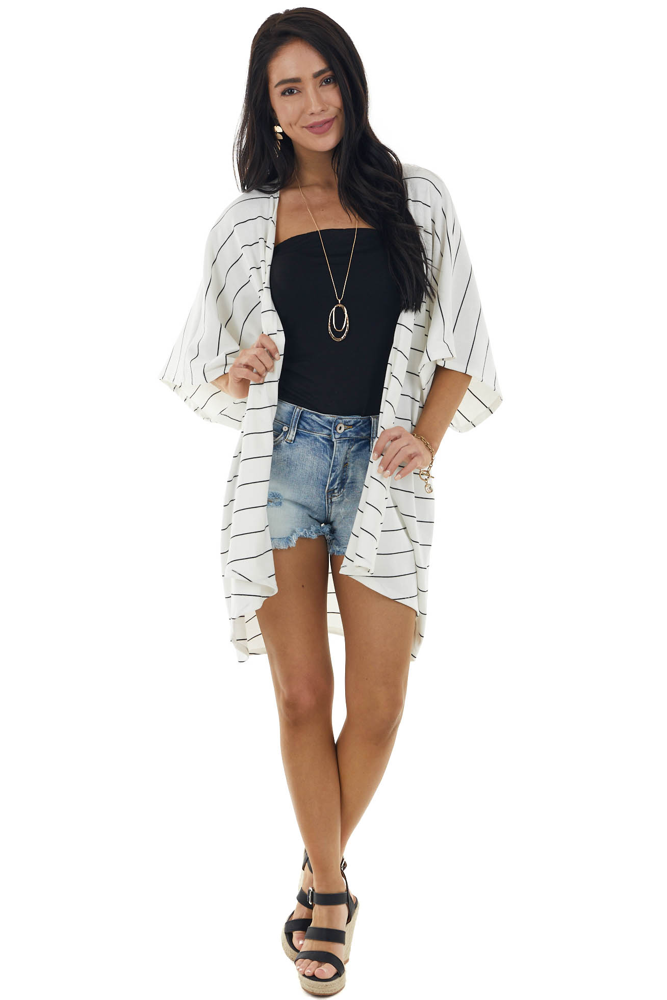 Ivory and Black Striped Short Sleeve Open Front Cardigan