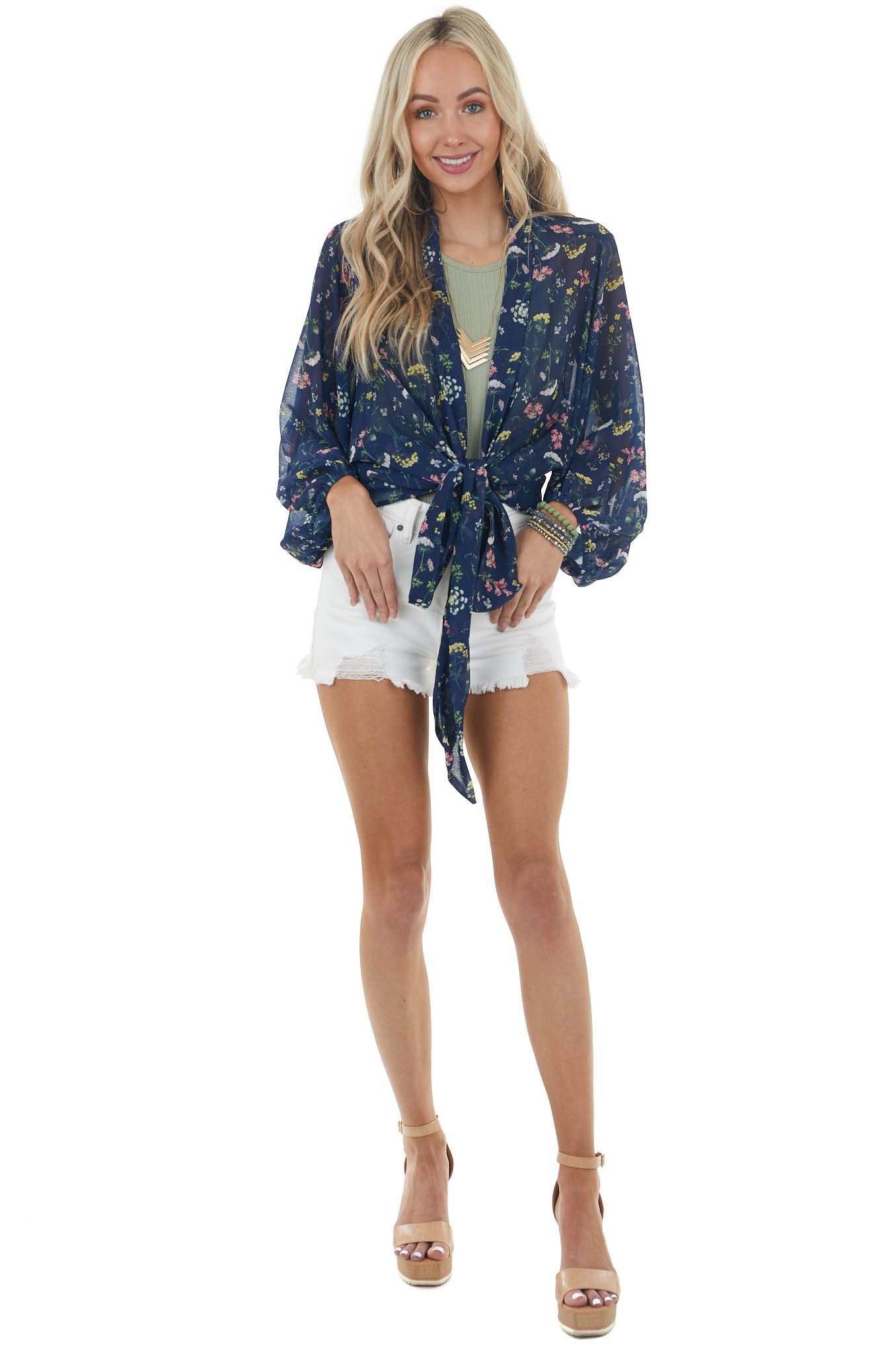 Navy Floral Print Woven Wrapped Blouse with Tie