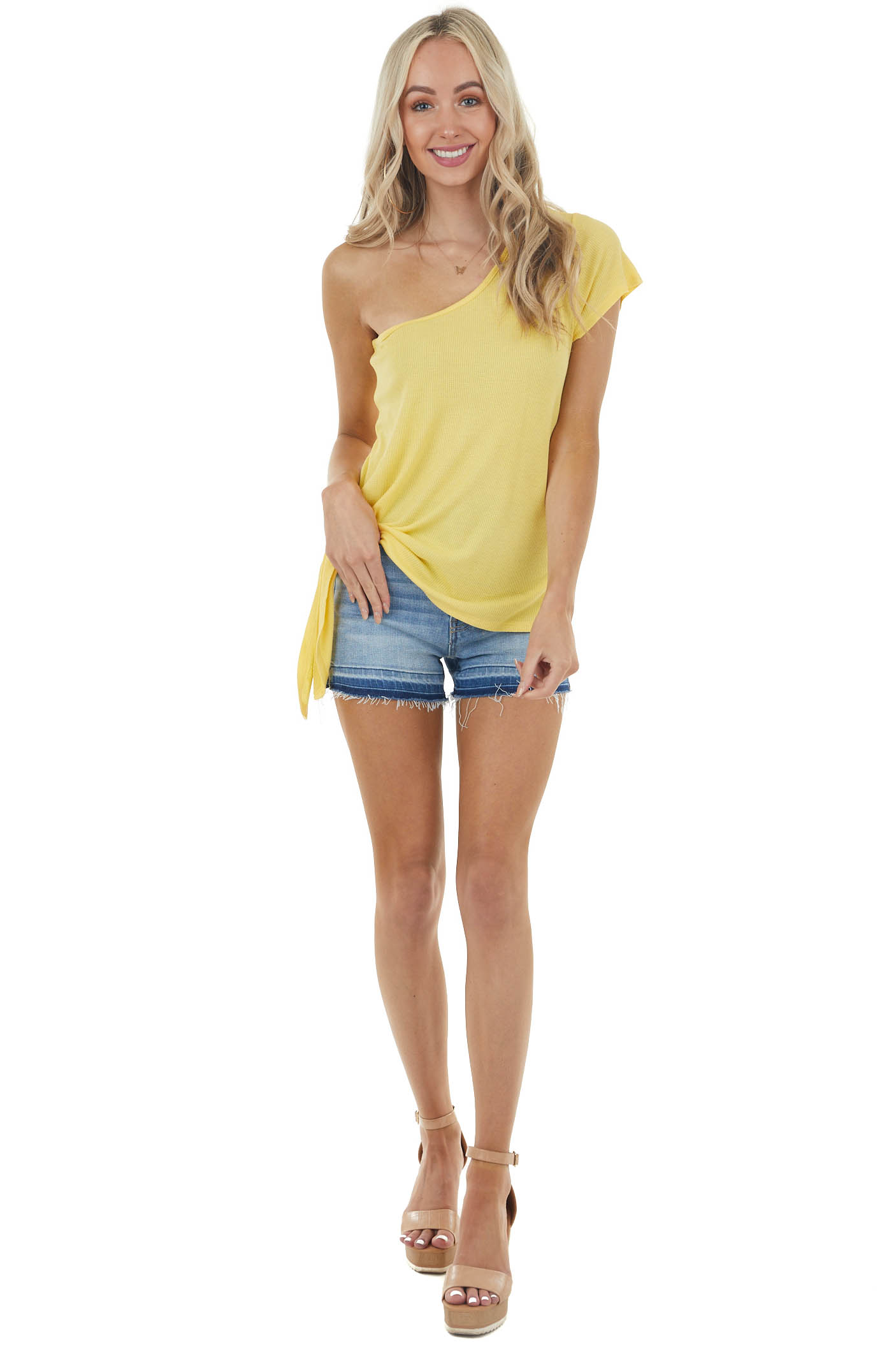 Sunshine Yellow One Shoulder Waffle Knit Top with Side Tie