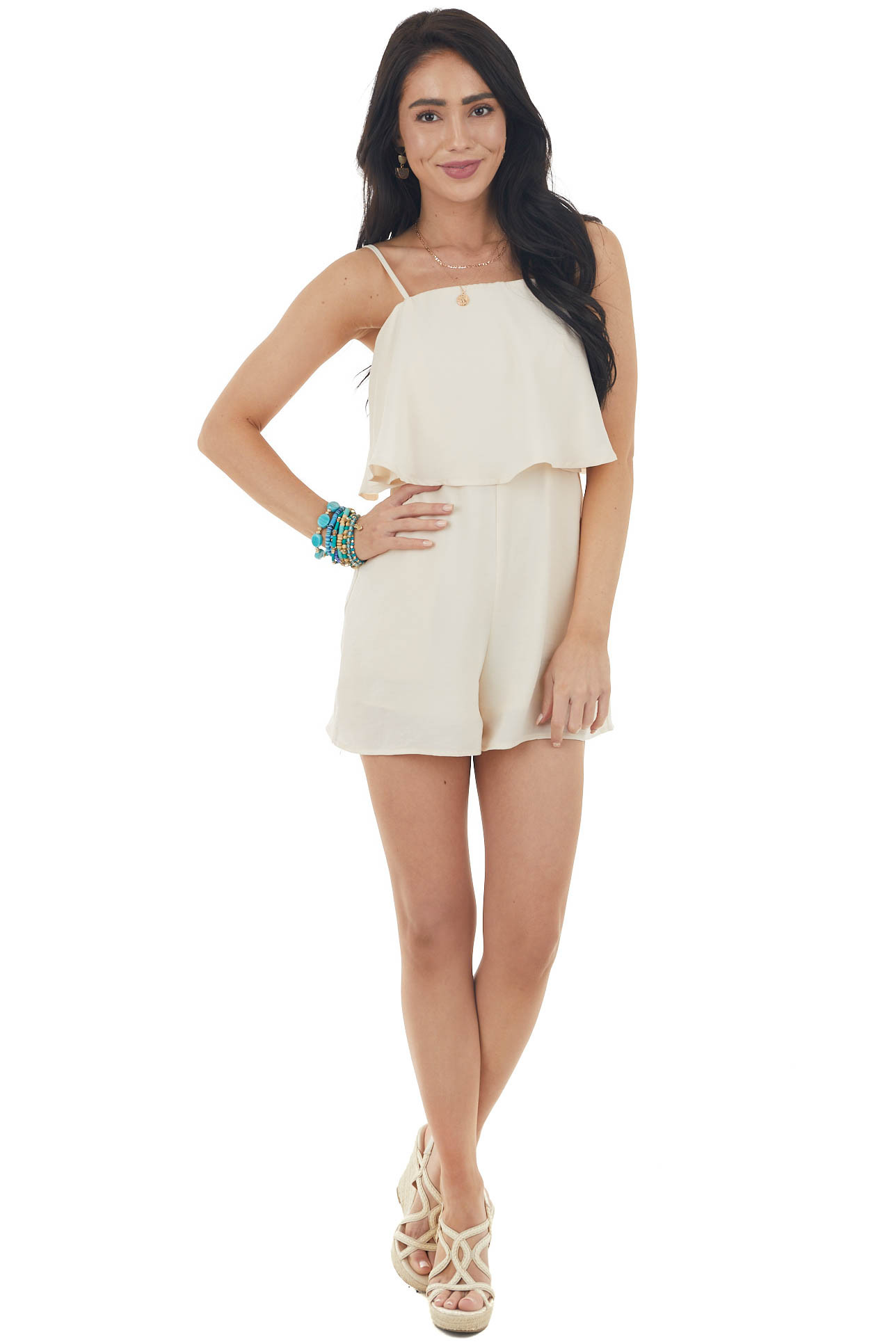 Champagne Spaghetti Strap Flowy Overlay Romper with Pockets