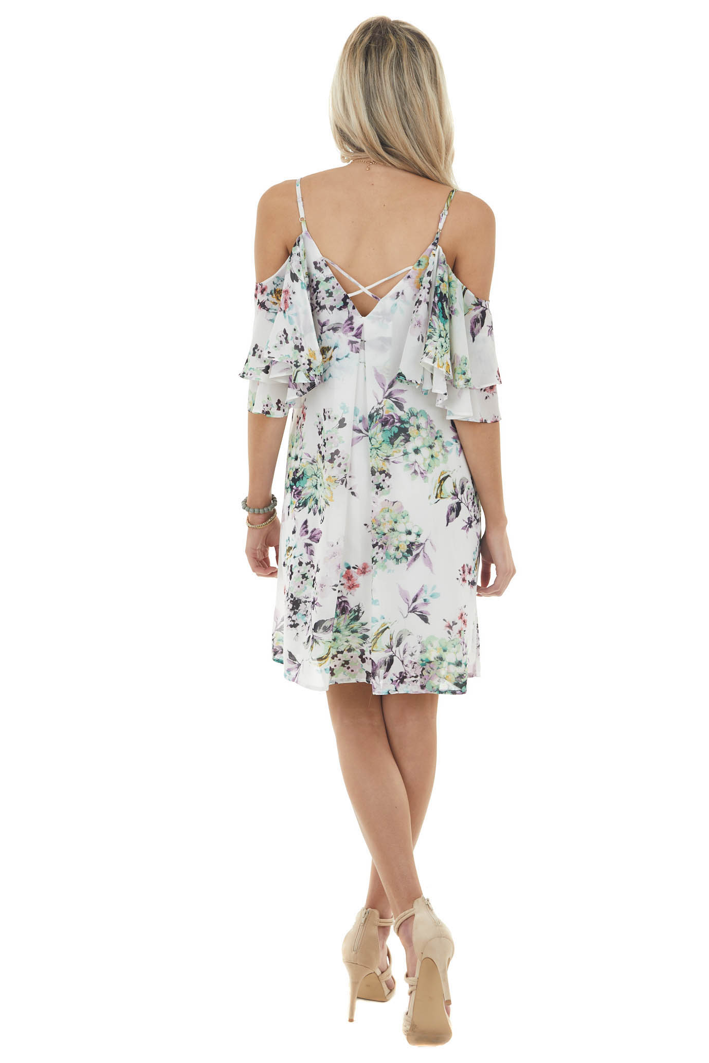 White Floral Off the Shoulder Mini Dress with Ruffle Detail