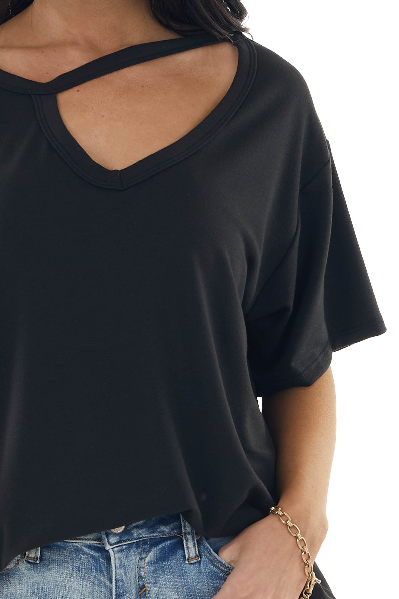 Black Half Sleeve Stretchy Knit Top with Cut Out Detail