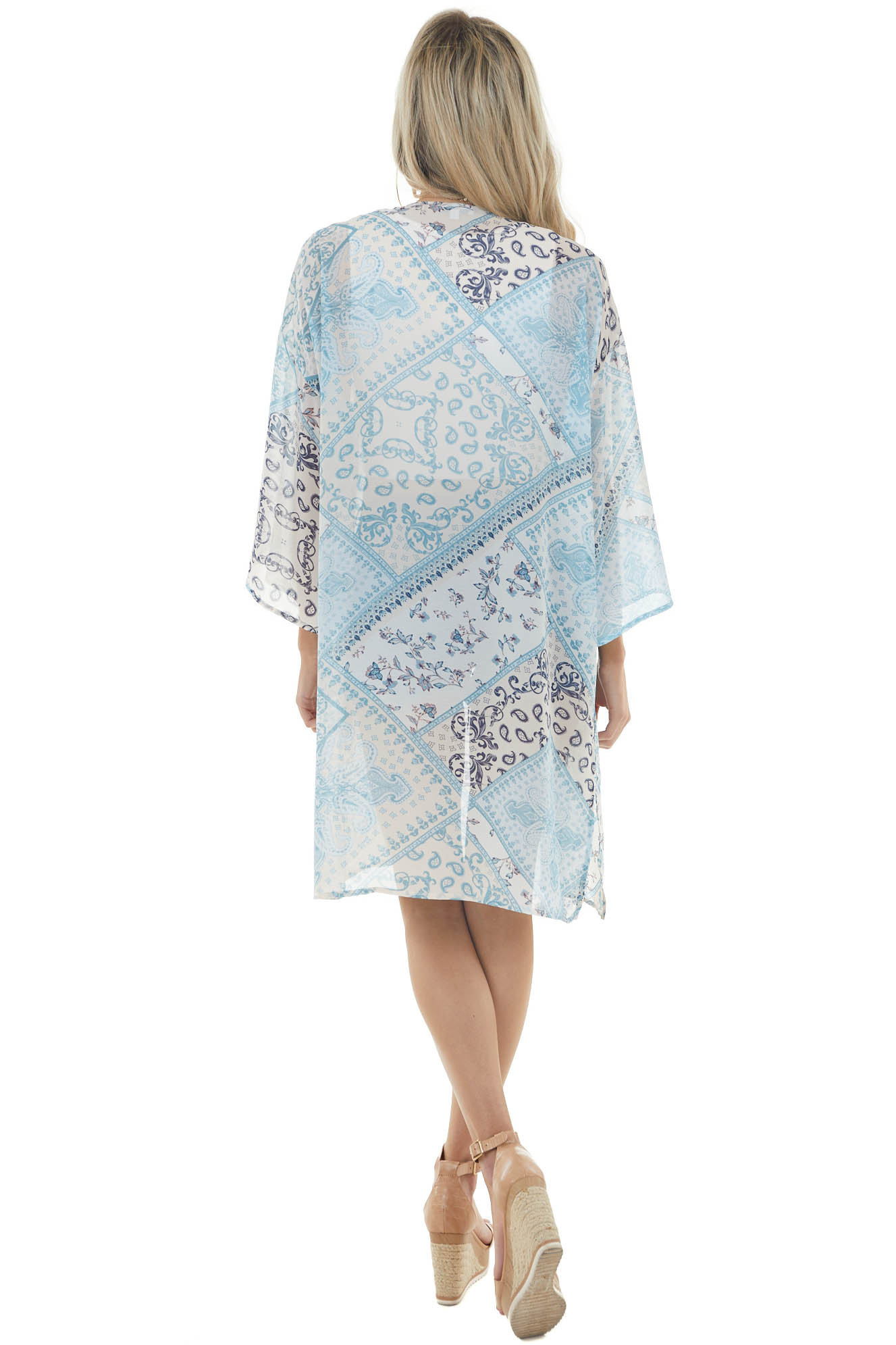 Ivory and Teal Paisley Print Lightweight Open Front Kimono