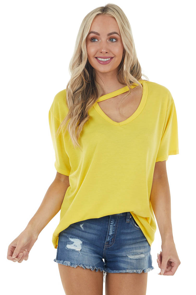 Sunshine Yellow Half Sleeve Stretchy Knit Top with Cut Out