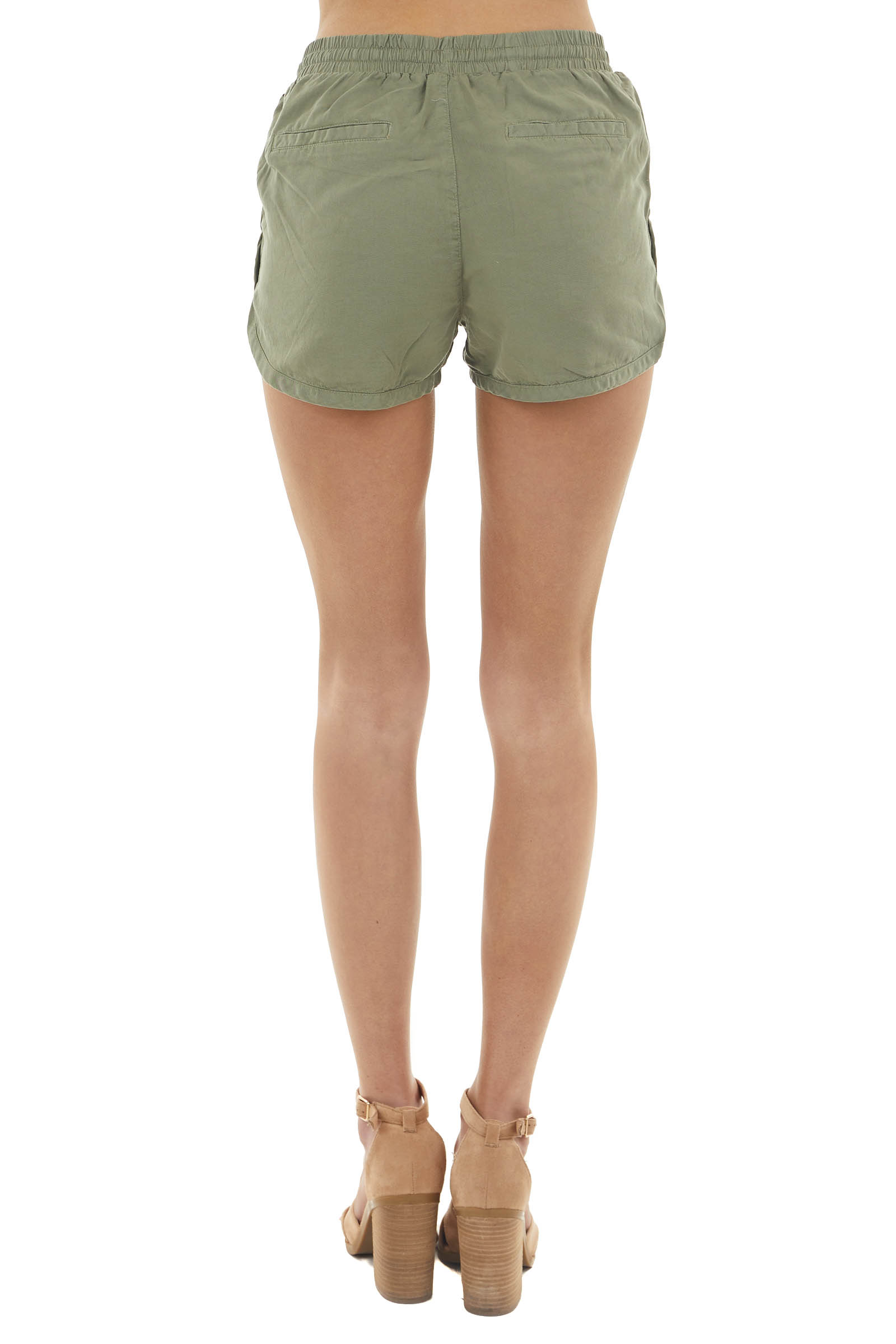 Rich Olive High Rise Drawstring Shorts with Side Pockets