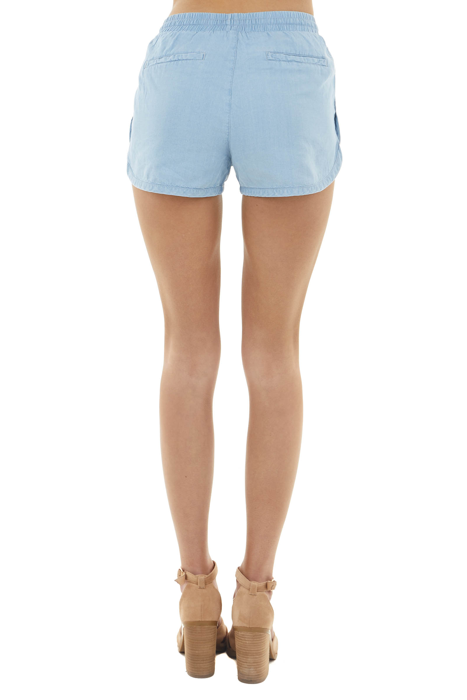 Pastel Blue High Rise Drawstring Shorts with Side Pockets