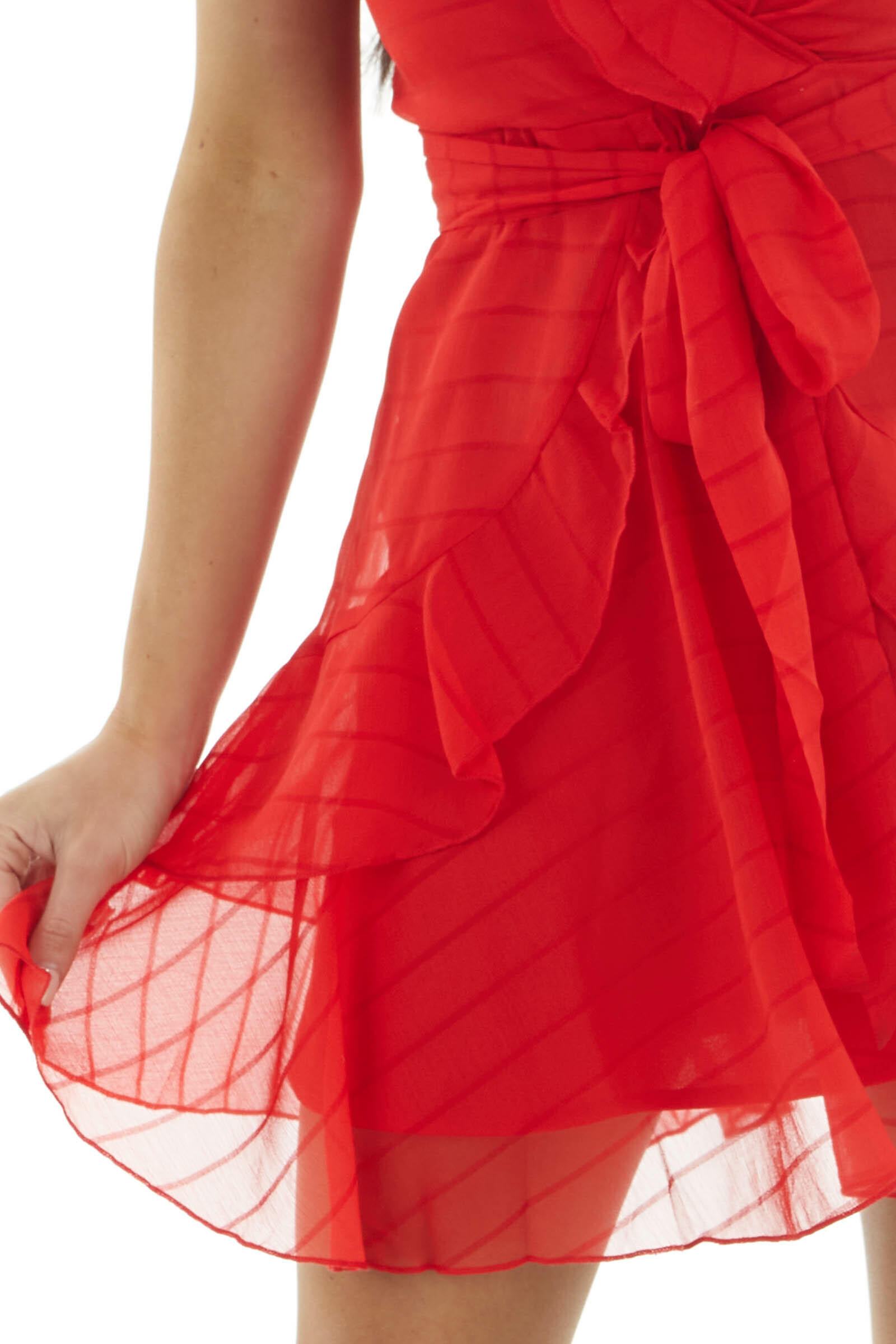 Ruby Textured Stripe Surplice Dress with Ruffle Details