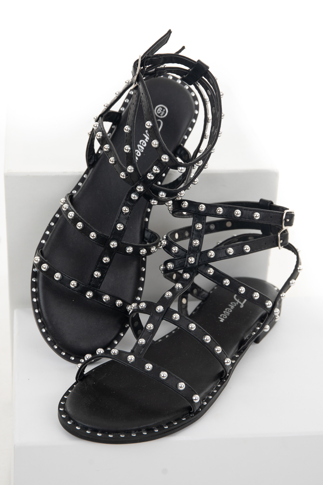 Black Ankle Strap Sandals with Silver Stud and Bead Details
