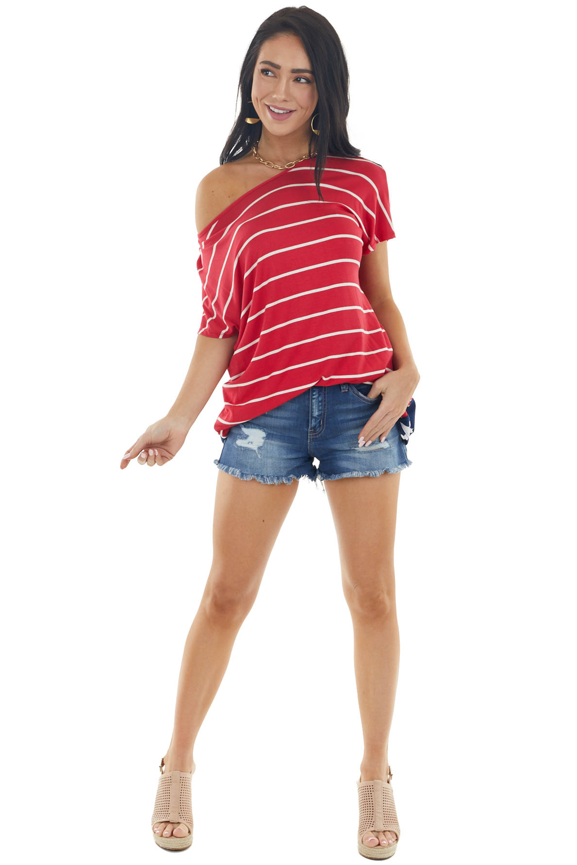 Ruby Red Stars and Stripes Knit Top with Crossed Open Back