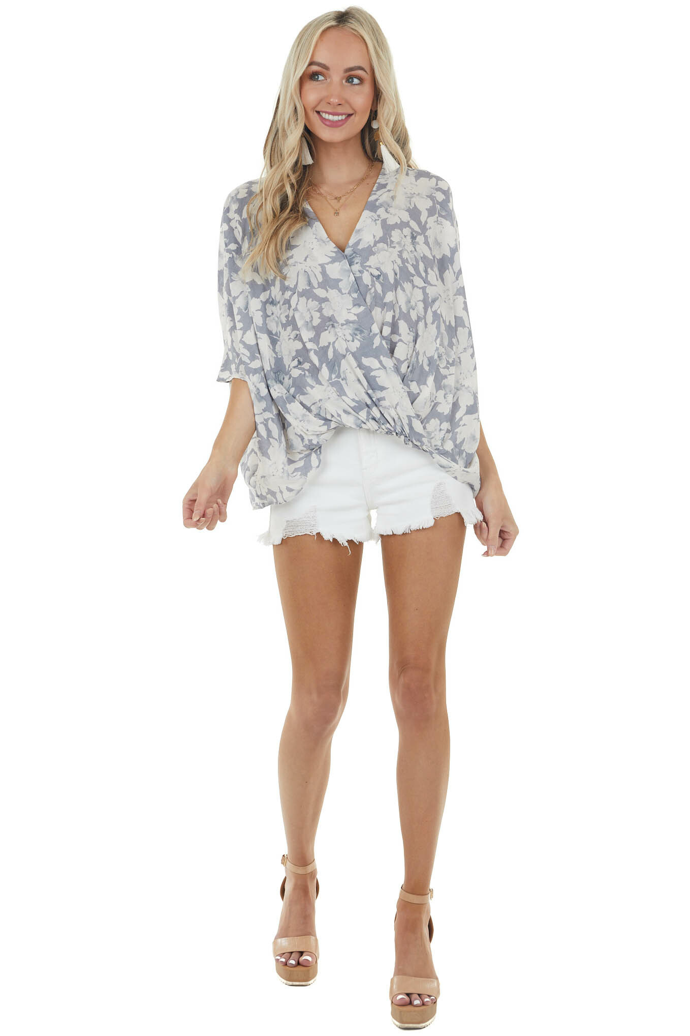 Slate and Champagne Floral Print Surplice Neck Blouse