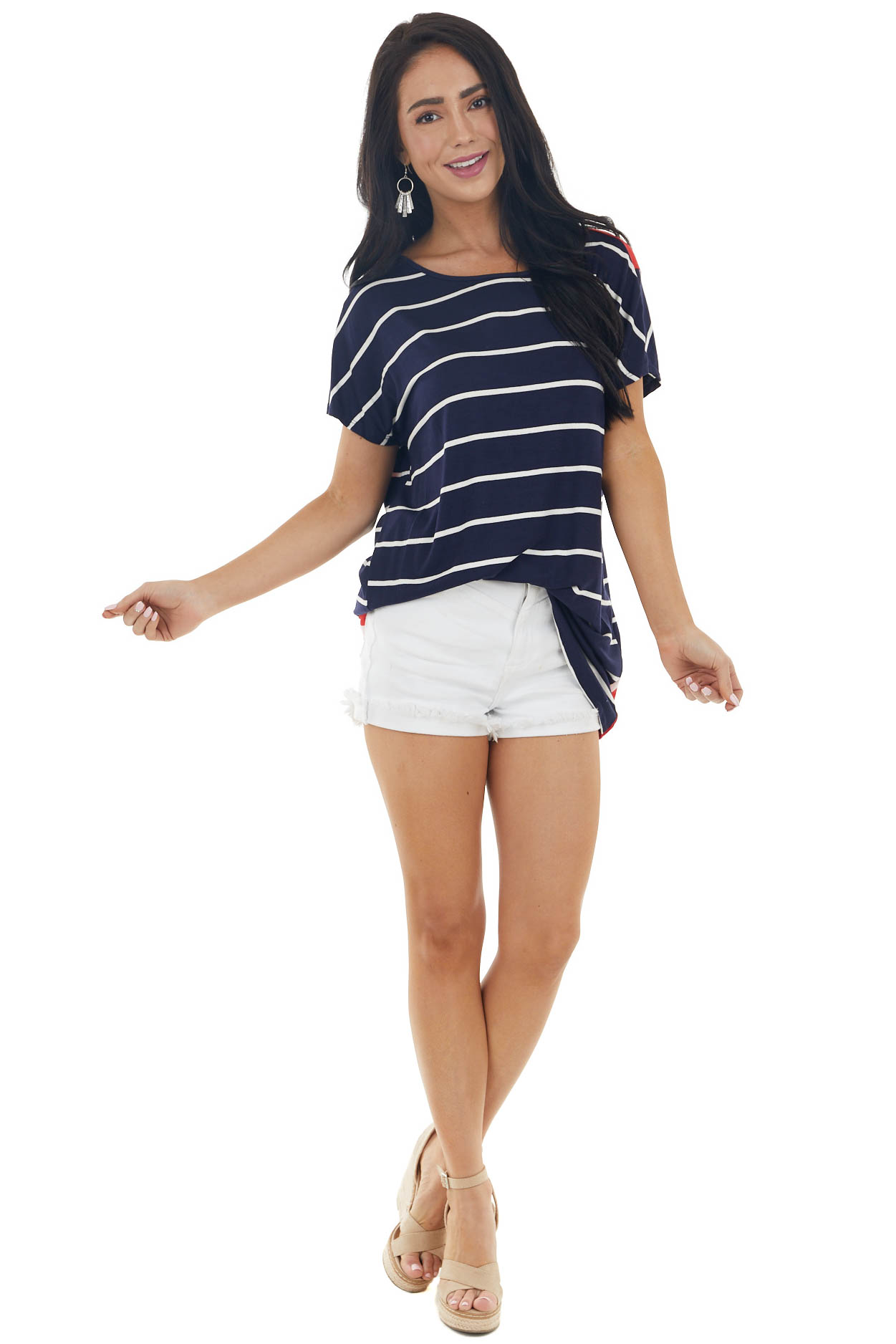 Navy Blue Stars and Stripes Knit Top with Crossed Open Back