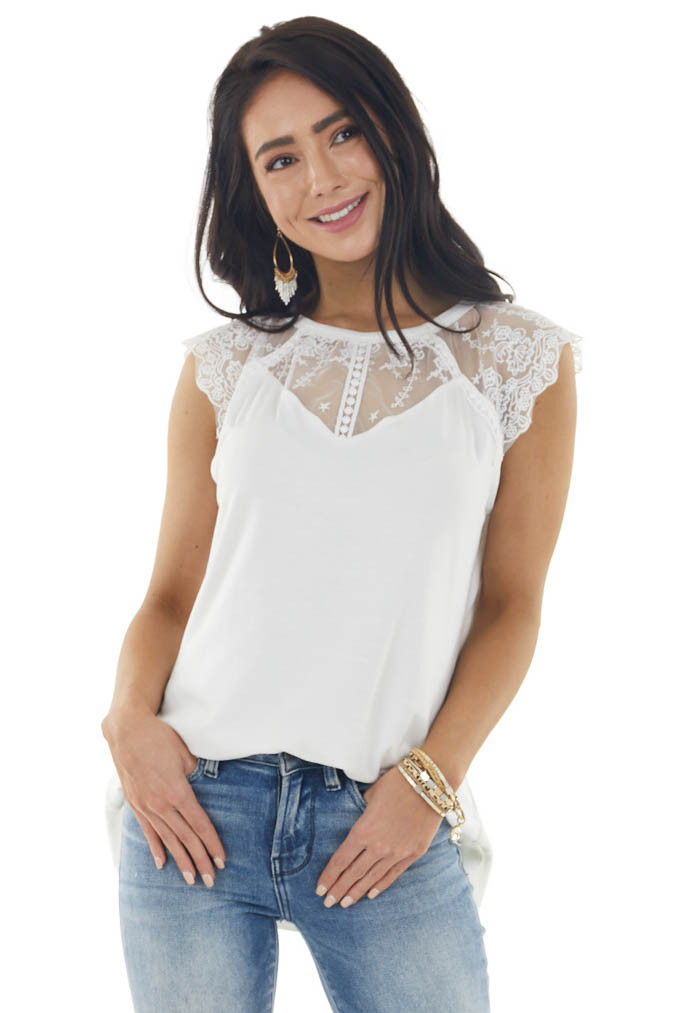 Ivory Short Sleeve Knit Top with Crochet Lace Detail