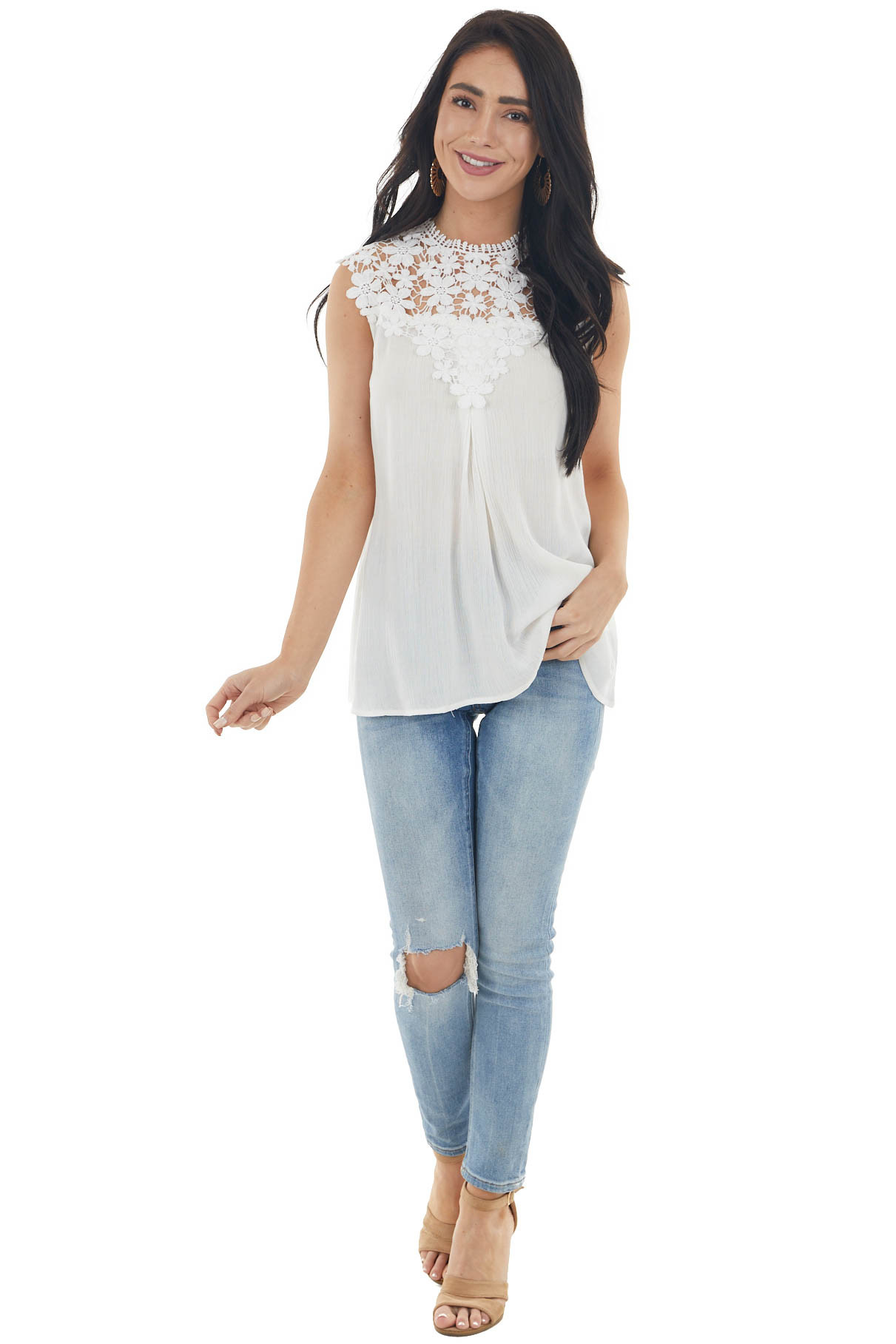 Cream Sleeveless Flowy Top with Floral Crochet Lace Yoke
