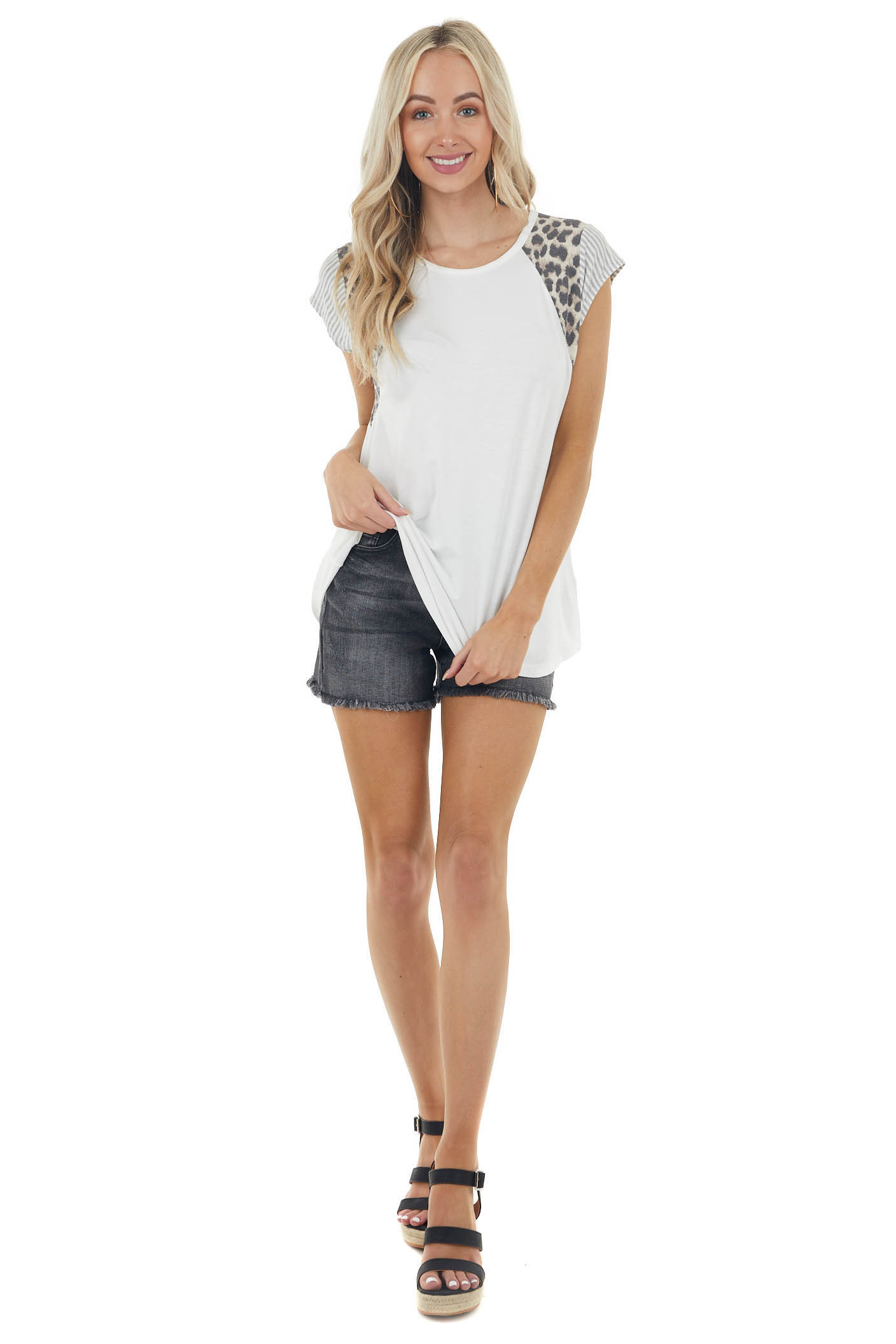 Ivory Knit Top with Short Multiprint Raglan Sleeves