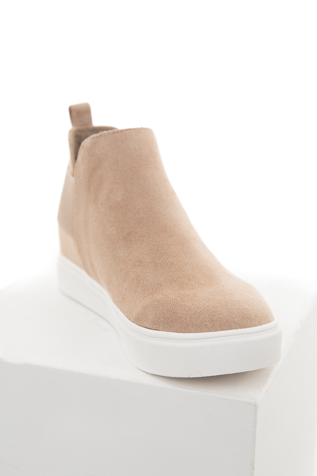 Latte Faux Suede Wedge Sneaker with Elastic Band Detail