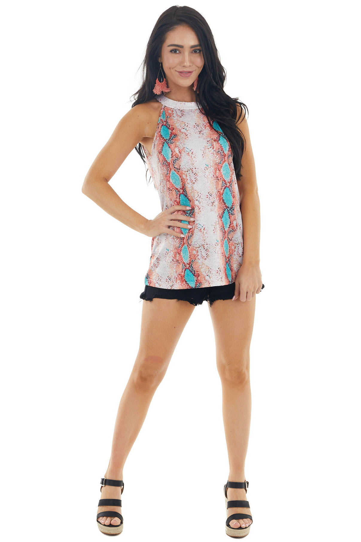 Coral and Teal Snakeskin Sleeveless Top with Keyhole Detail
