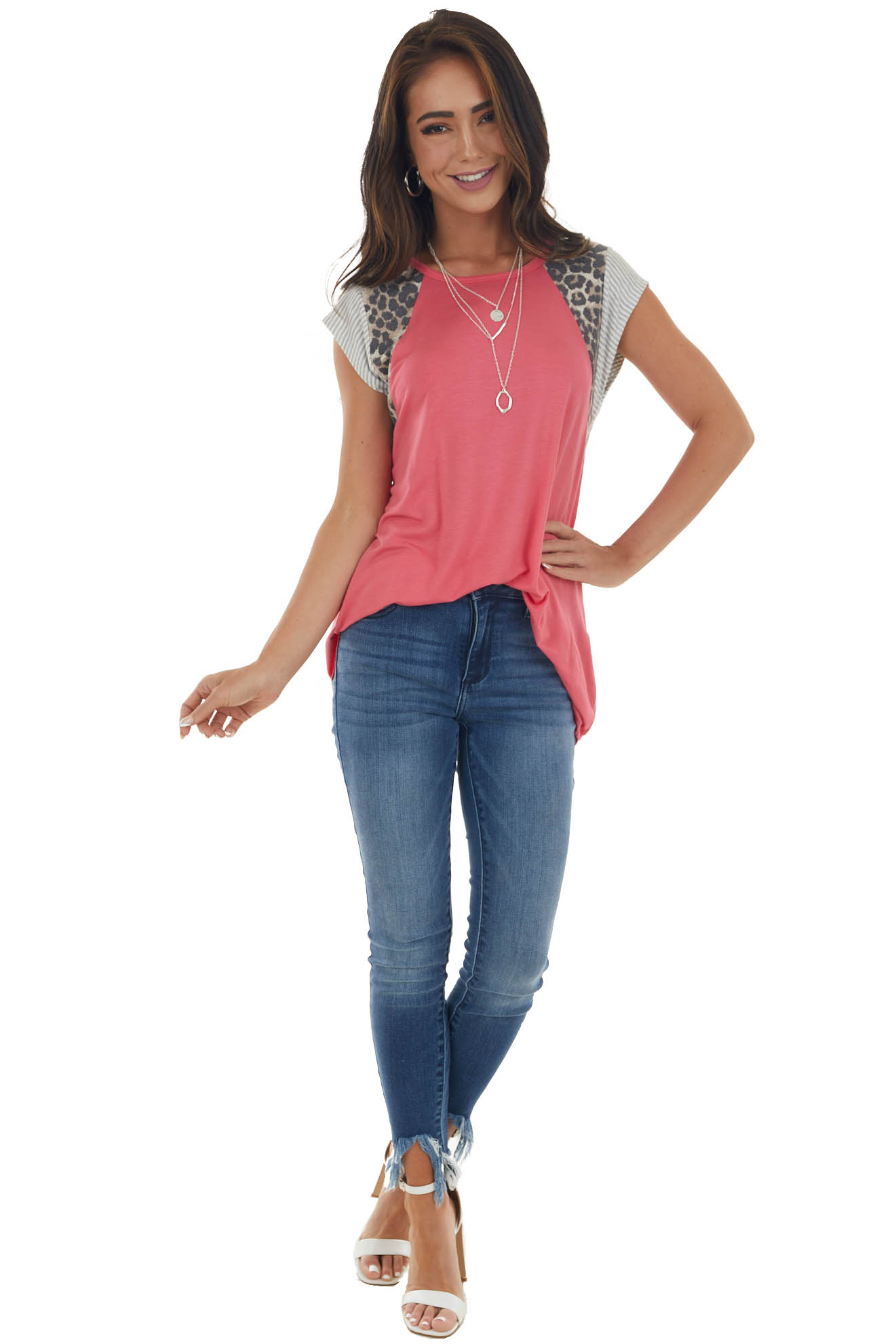 Bright Punch Knit Top with Short Multiprint Raglan Sleeves