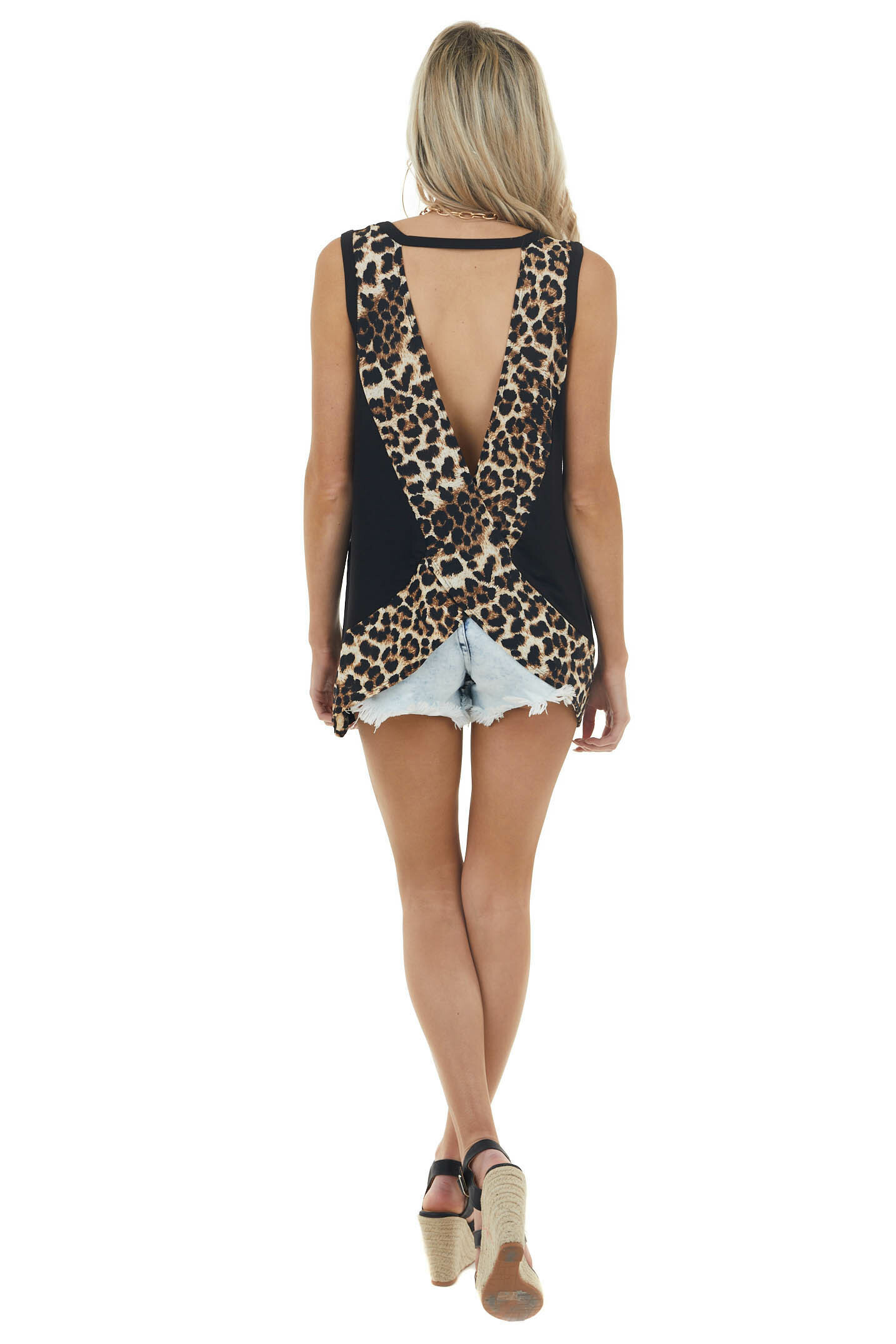Black Sleeveless Top with Crossed Leopard Print Open Back