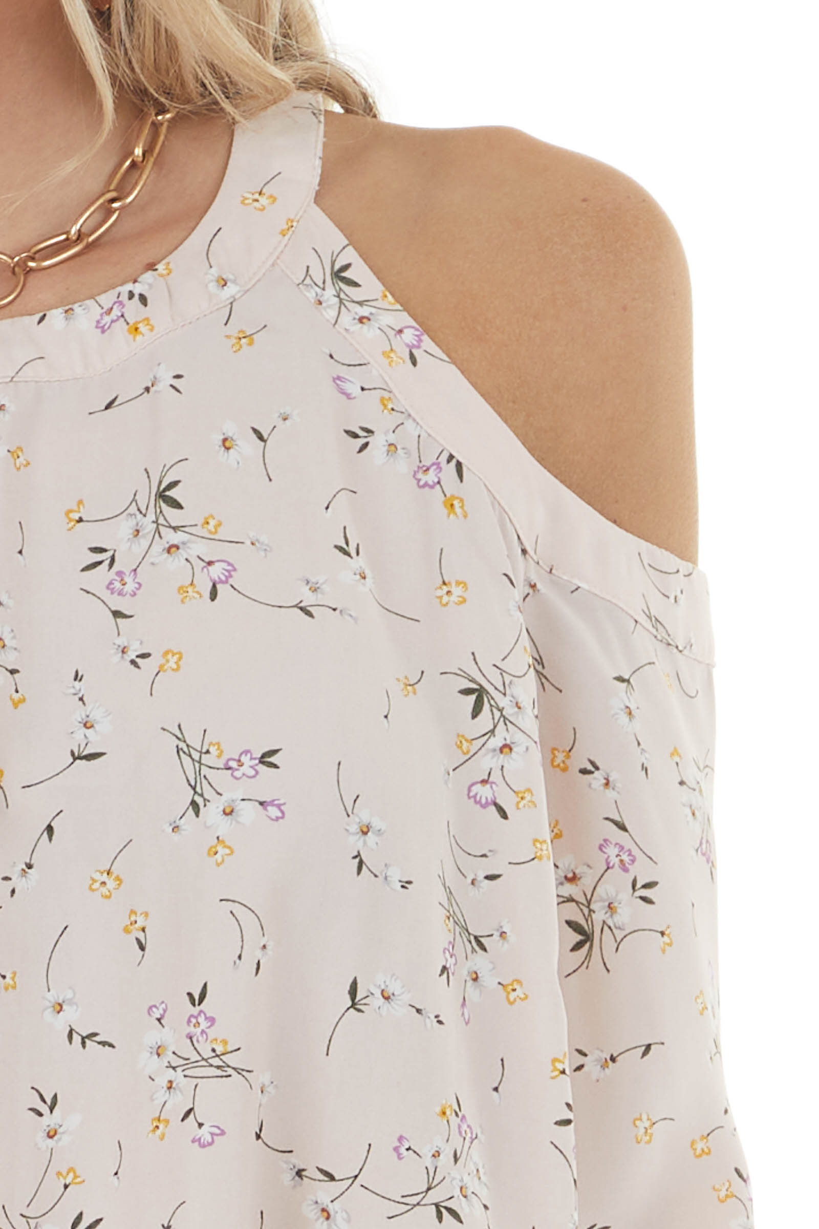 Blush Floral Print Cold Shoulder Blouse with 3/4 Sleeves