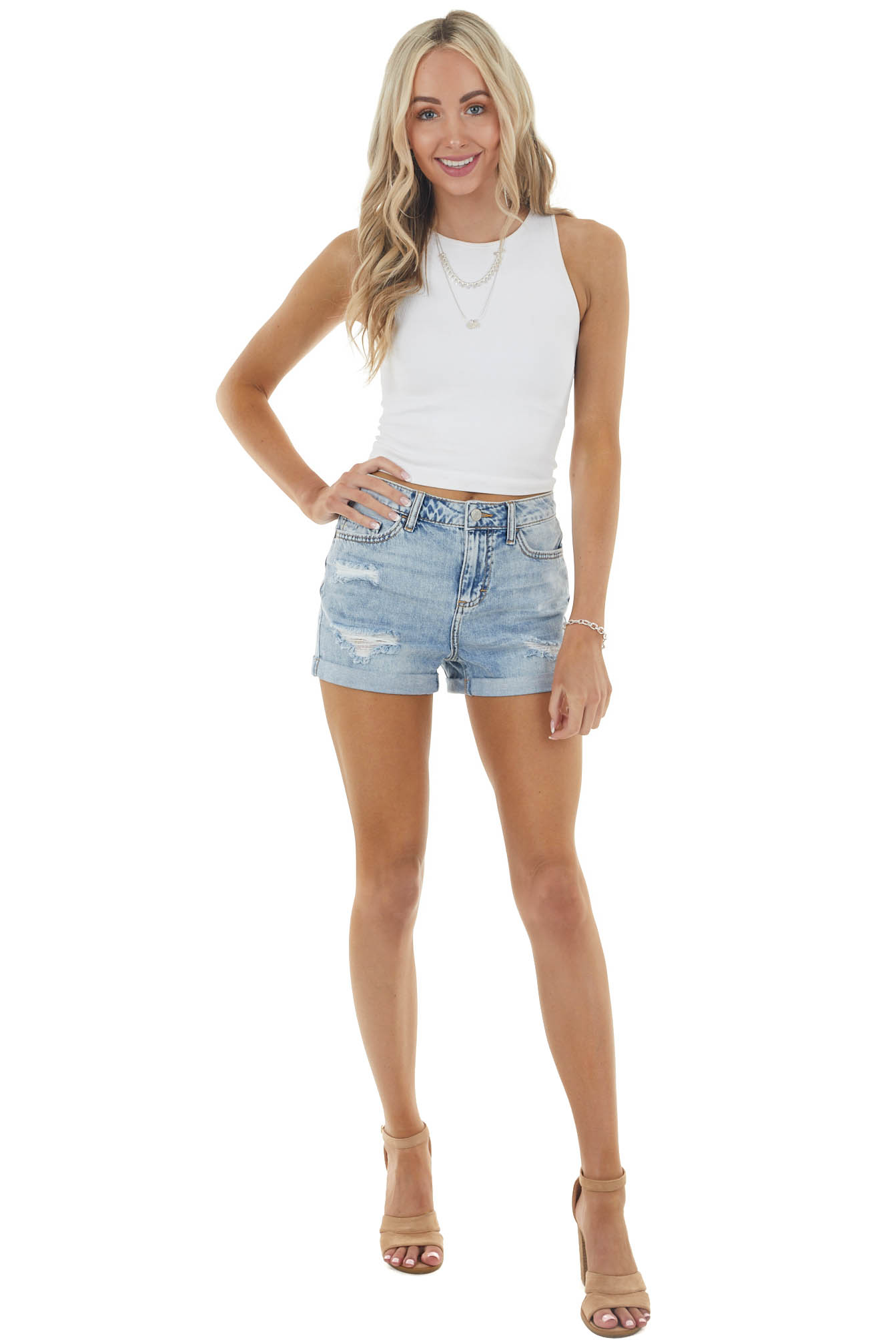 Light Wash High Rise Relaxed Fit Distressed Denim Shorts