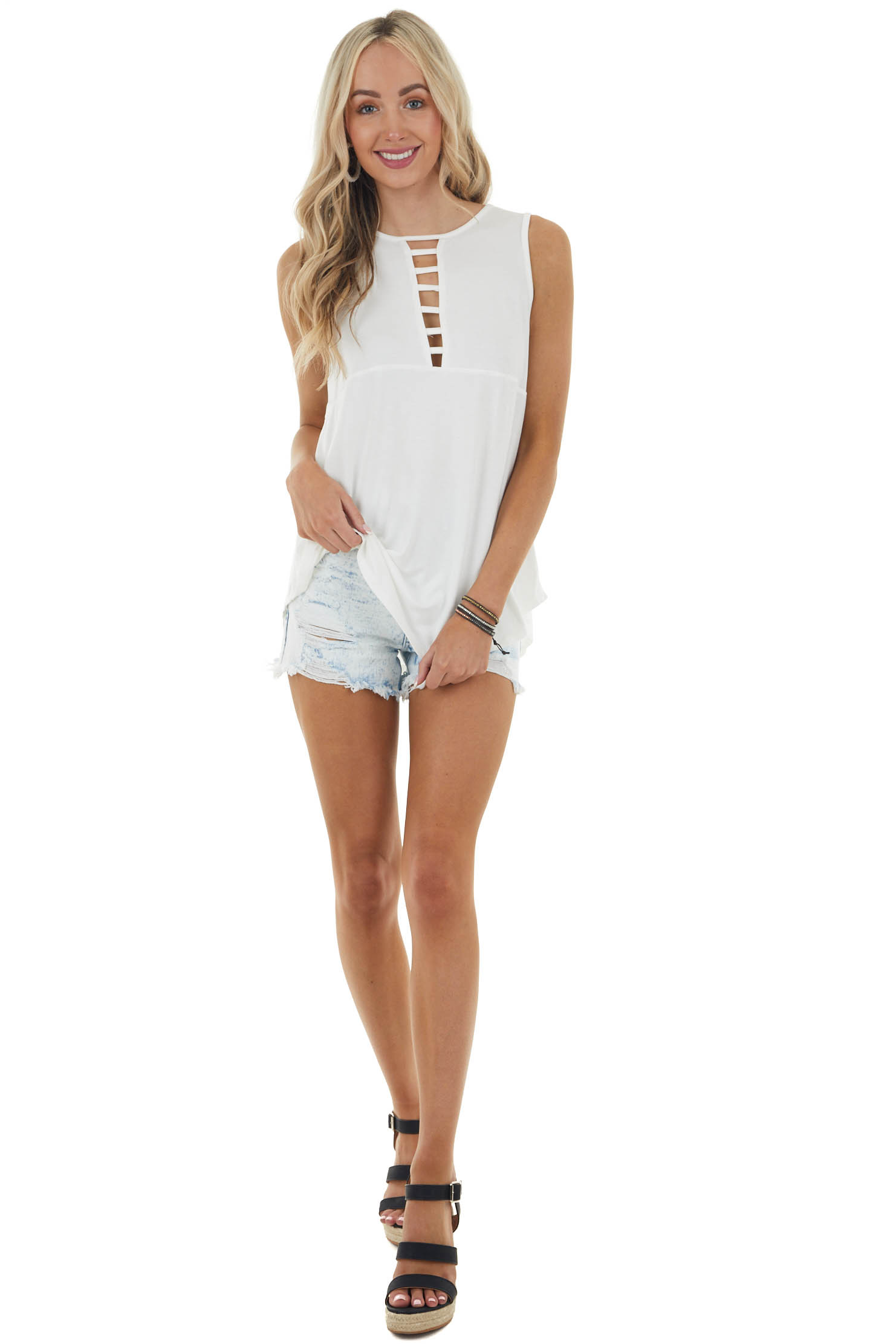 Ivory Sleeveless Knit Tank Top with Ladder Neck Detail