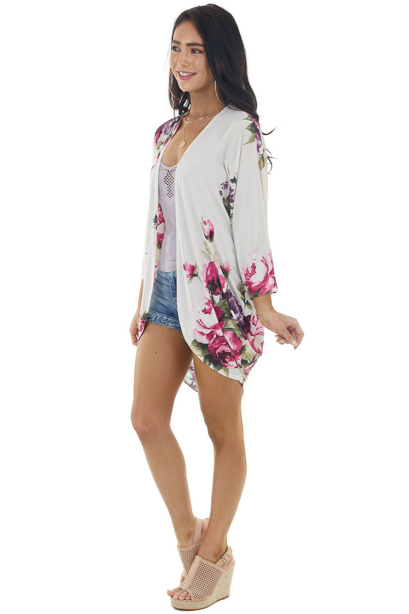 Coconut Floral Print 3/4 Sleeve Knit Kimono with Cocoon Hem