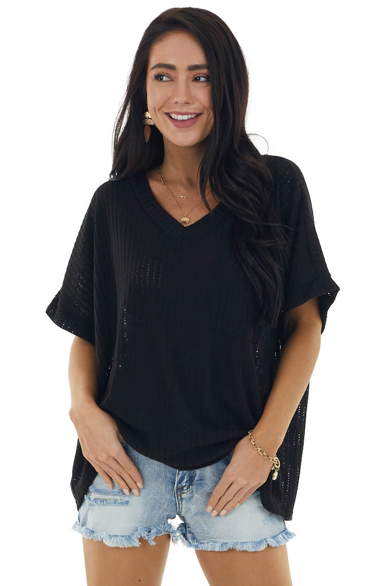 Black Loose Knit Top with V Neckline and Front Chest Pocket