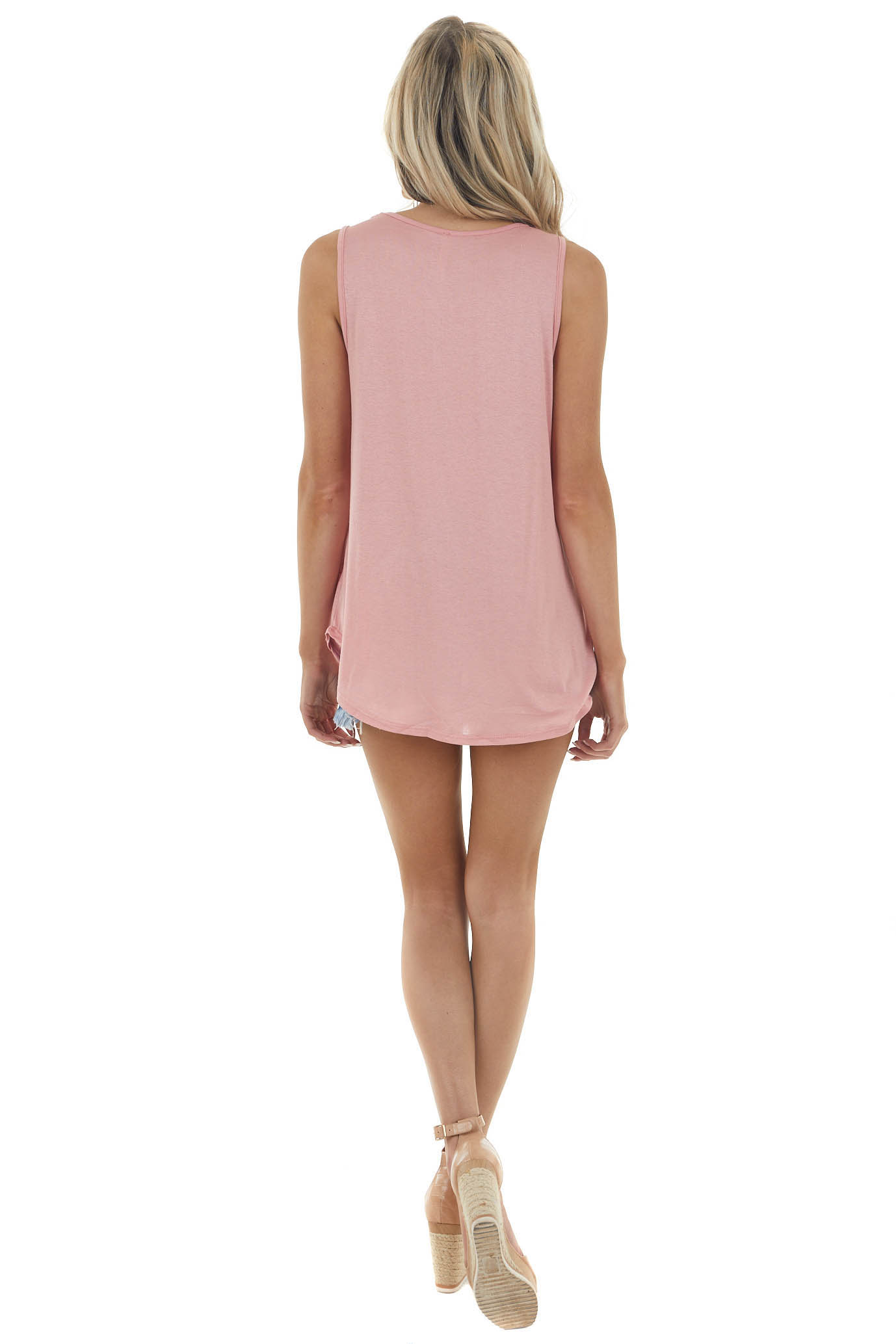 Peony Pink Sleeveless Knit Tank Top with Ladder Neck Detail