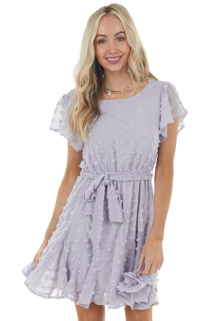 Lavender Short Sleeve Swiss Dot Short Dress with Tie