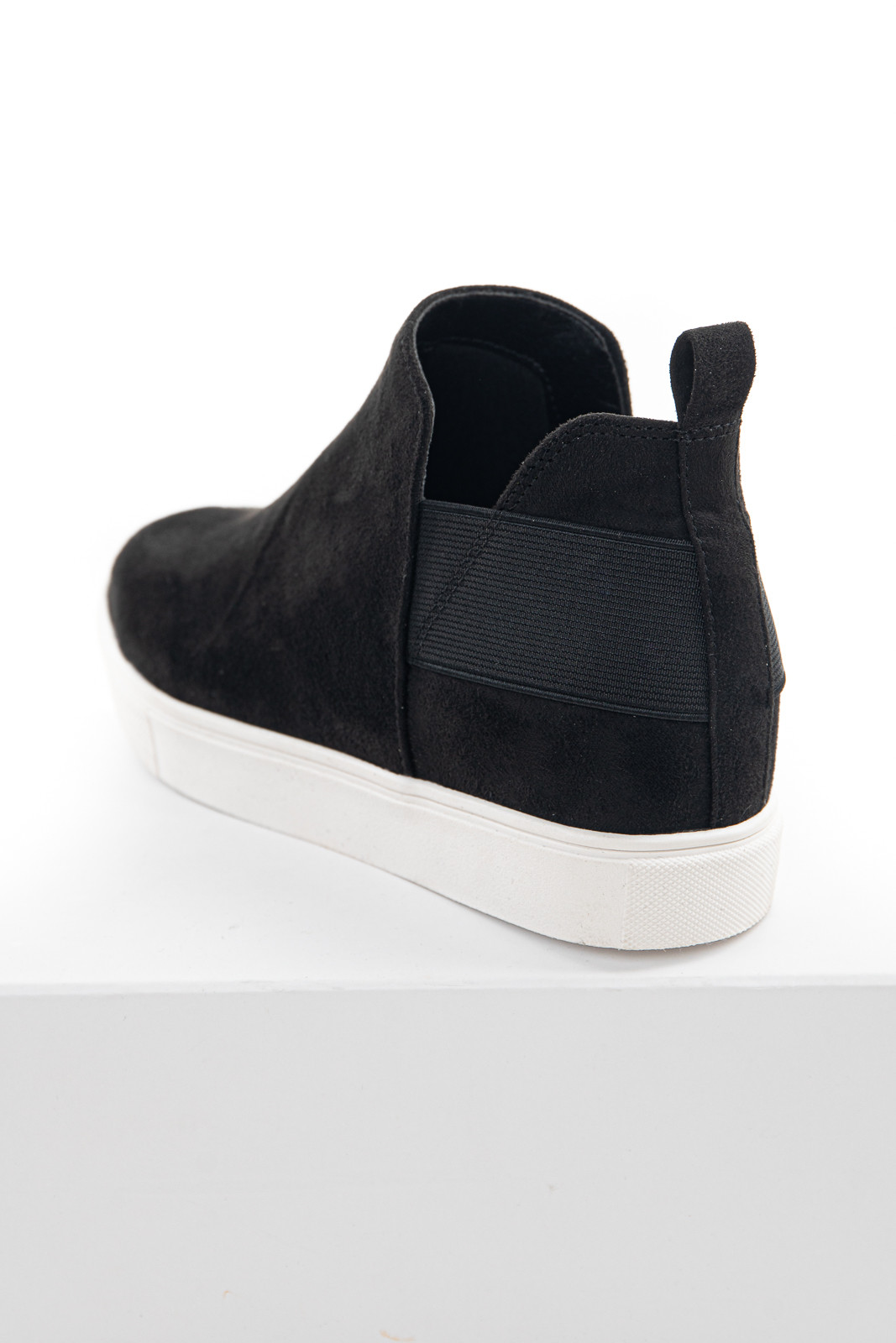 Black Faux Suede Wedge Sneaker with Elastic Band Detail