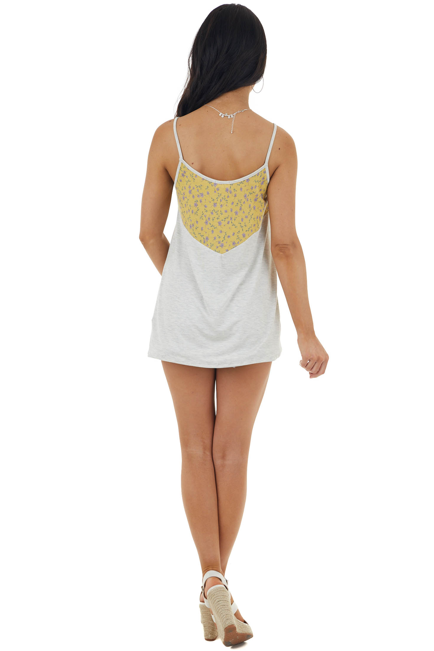 Mustard and Heathered Dove Grey Cami Top with Floral Print