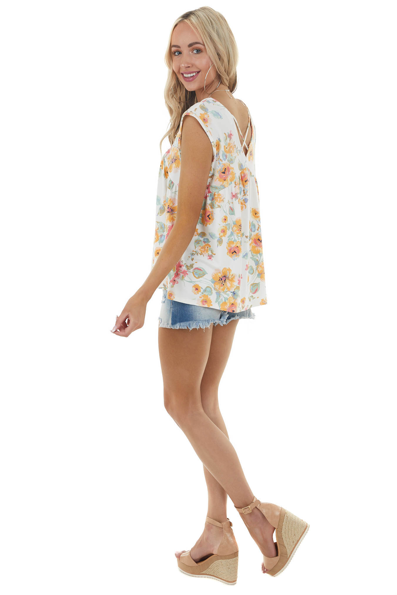Off White Floral Print Knit Top with Crossed Strap Details