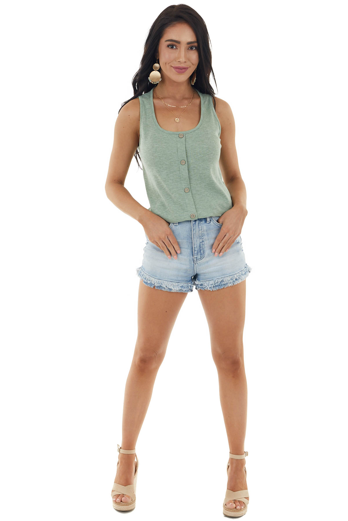 Heathered Sage Stretchy Ribbed Knit Button Up Tank Top
