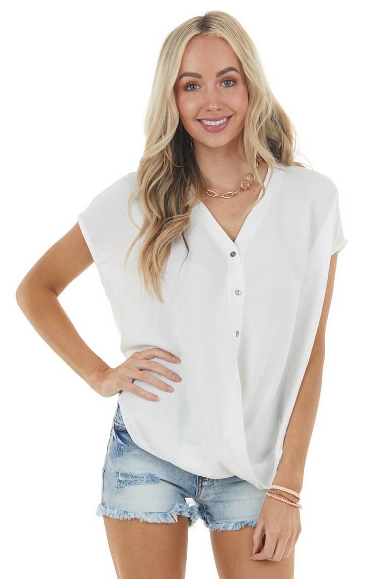 Off White Short Sleeve Woven Top with Bubble Hemline