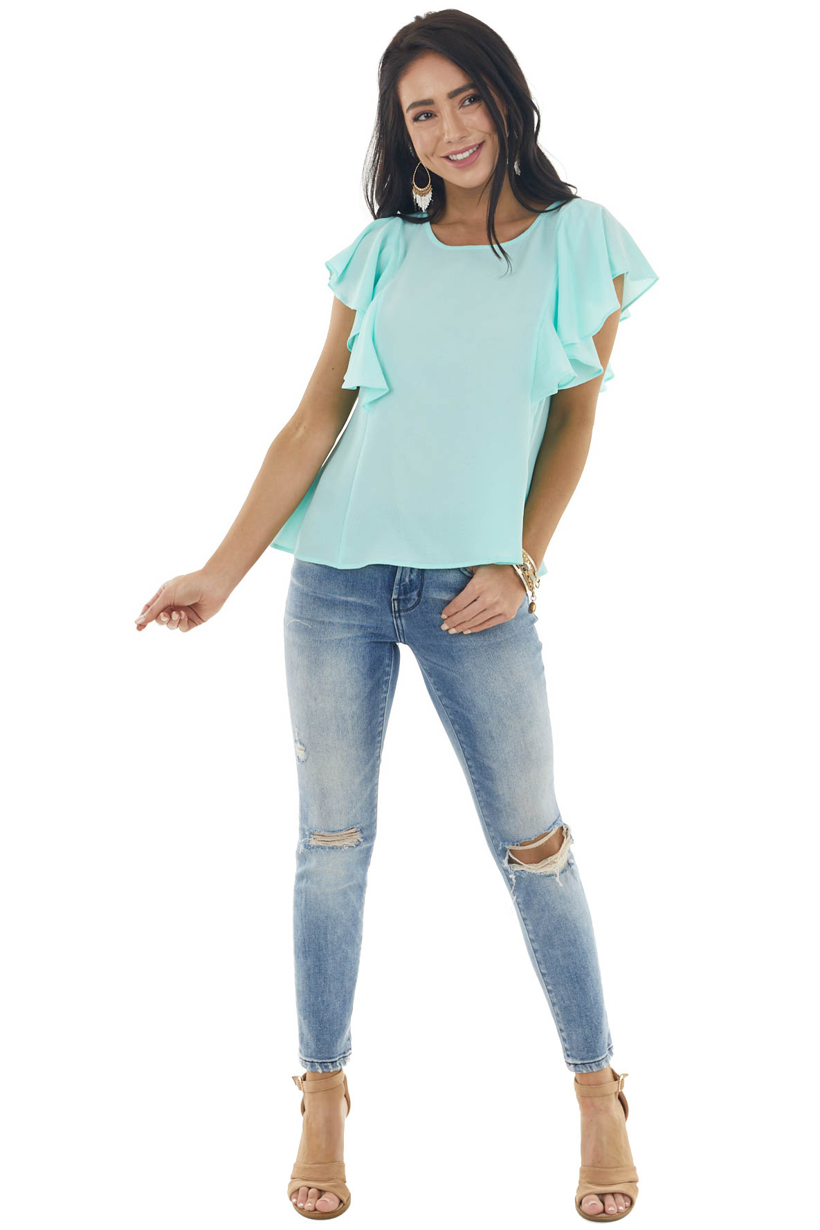 Dark Mint Short Ruffled Sleeve Blouse with Keyhole Back
