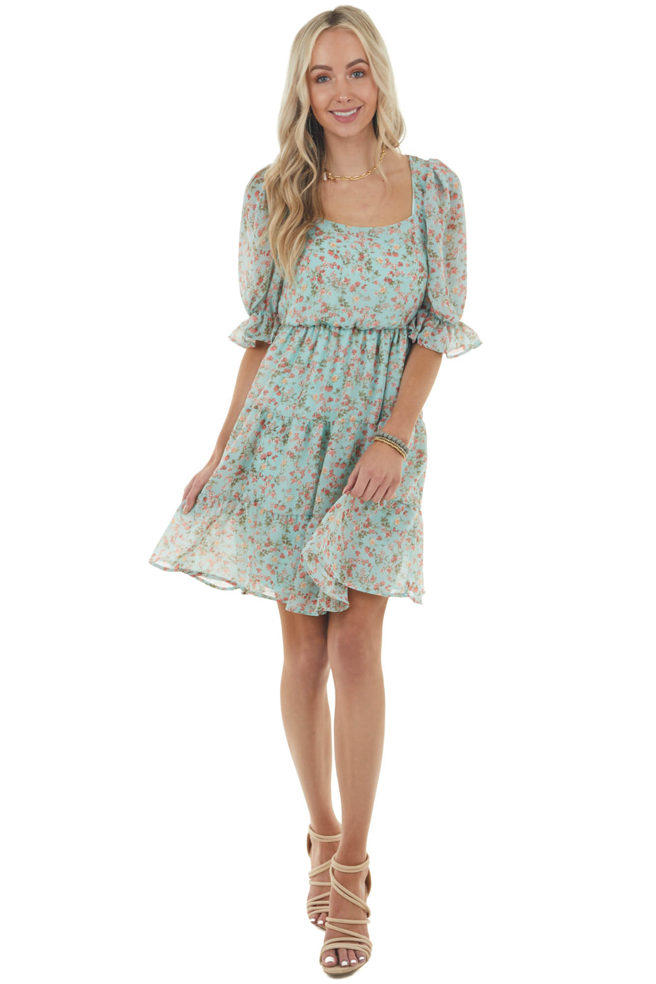 Seafoam Ditsy Floral Short Puff Sleeve Tiered Short Dress
