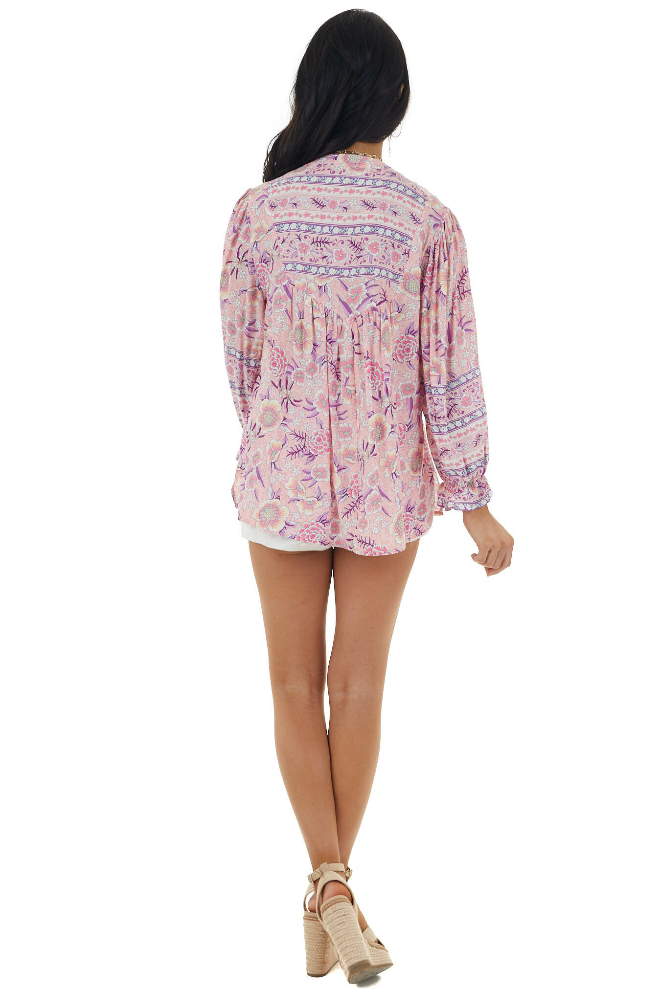 Carnation Abstract Floral Print Long Bubble Sleeve Blouse