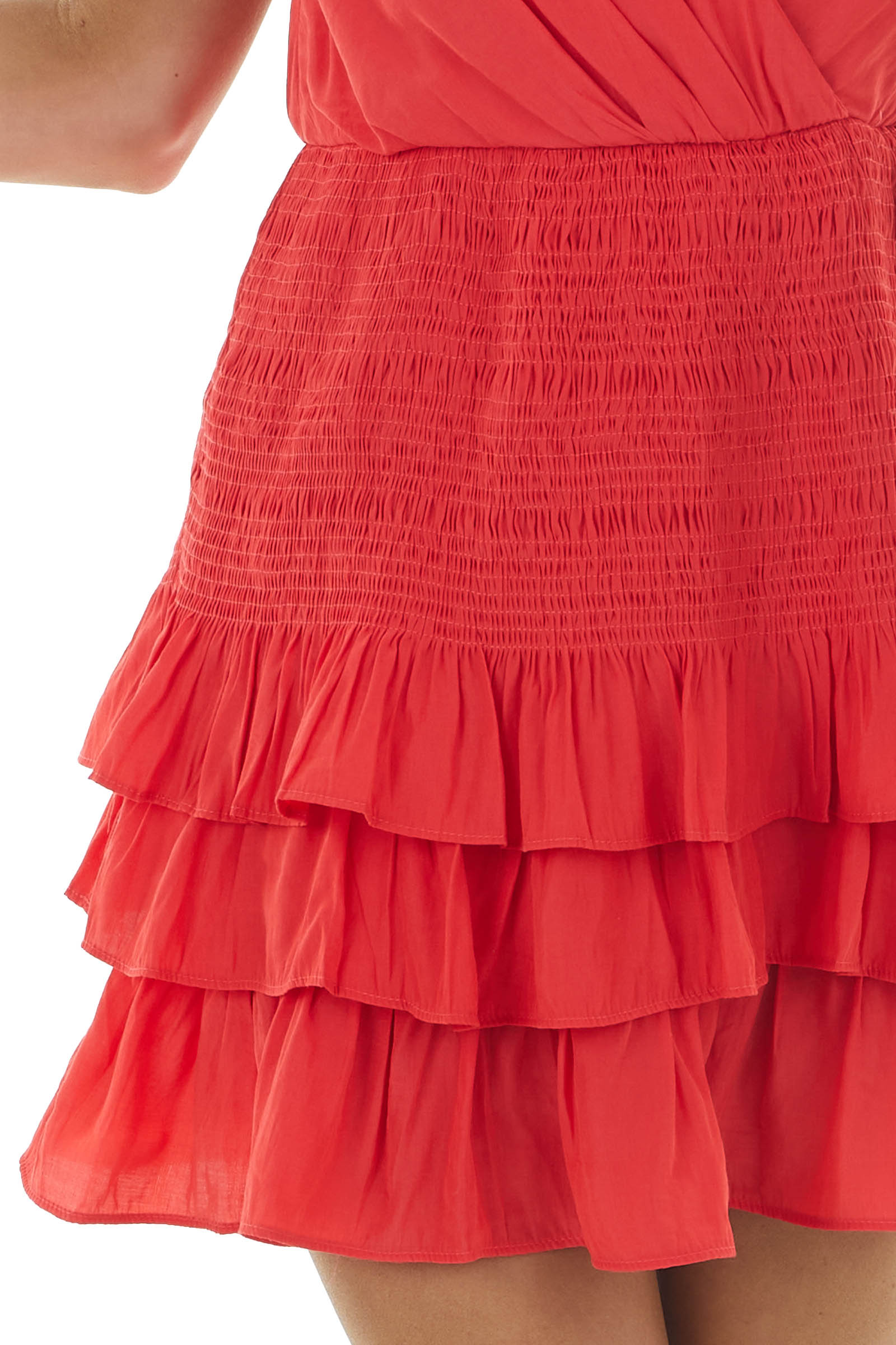 Tomato Red Strappy Mini Dress with Smocking and Tiers