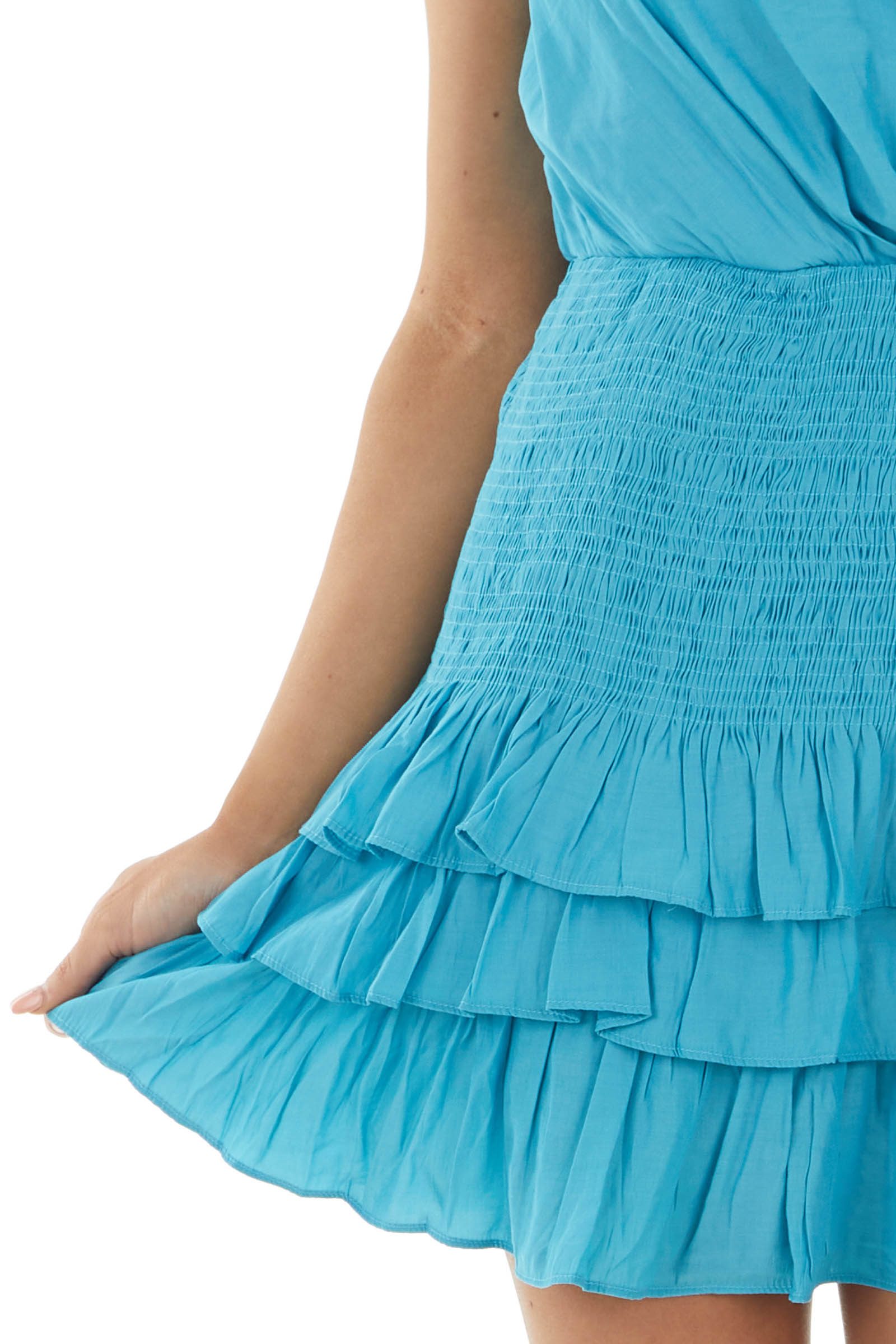 Teal Strappy Mini Dress with Smocking and Tiers