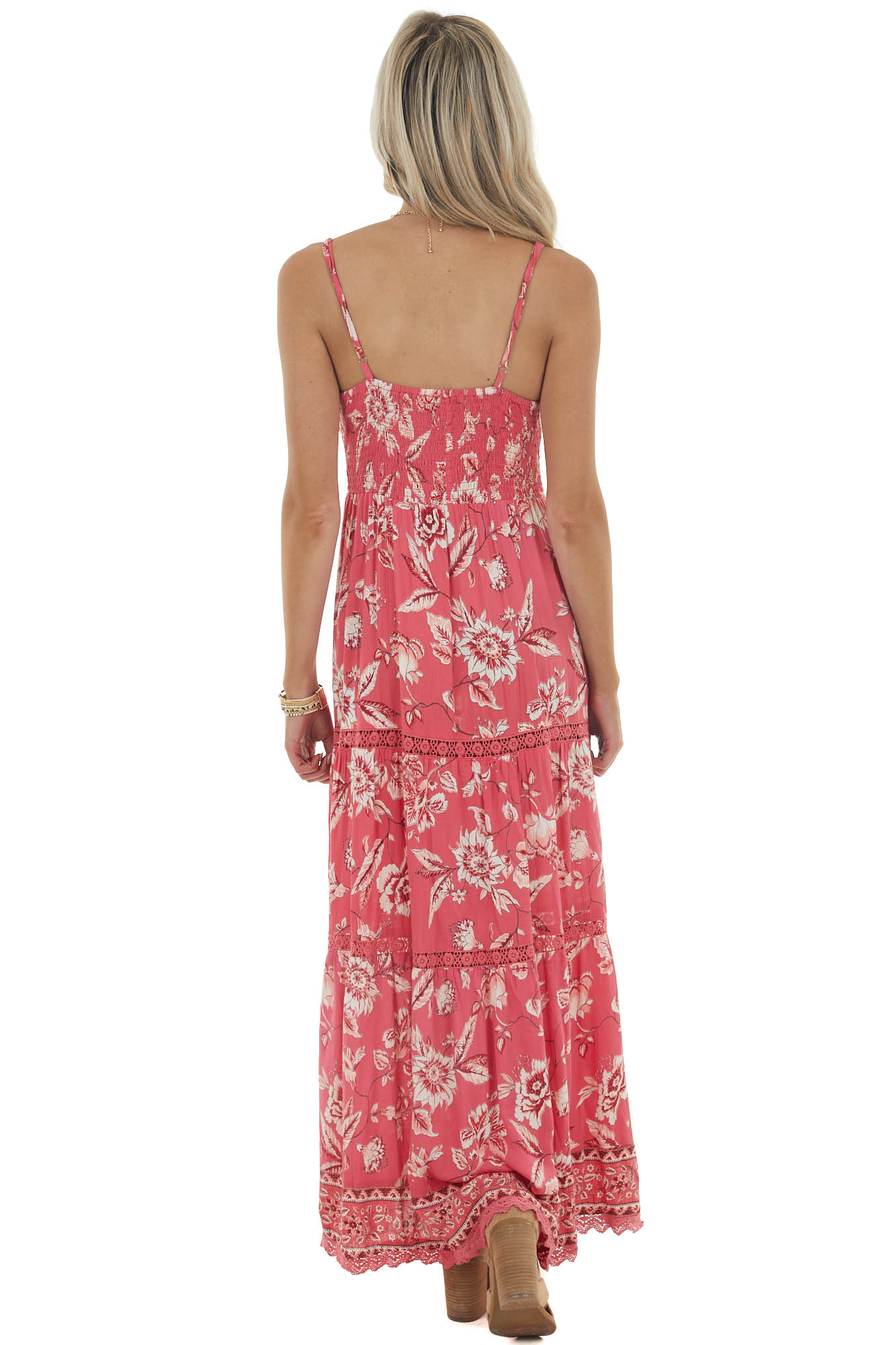 Hibiscus Floral Print Woven Maxi Dress with Deep V Neckline