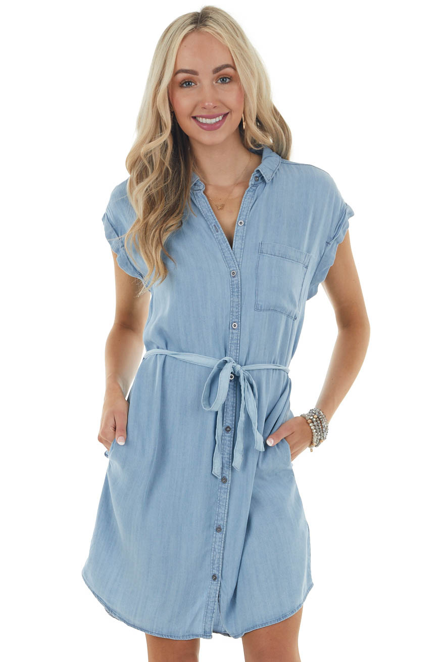 Light Wash Chambray Button Up Shirt Dress with Short Sleeves